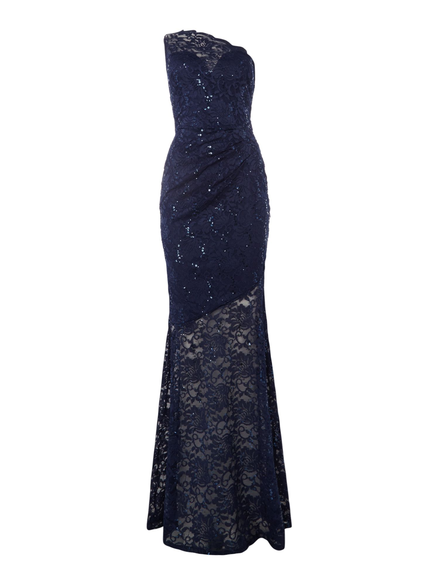 Jessica Wright One shoulder sequin lace maxi, Blue