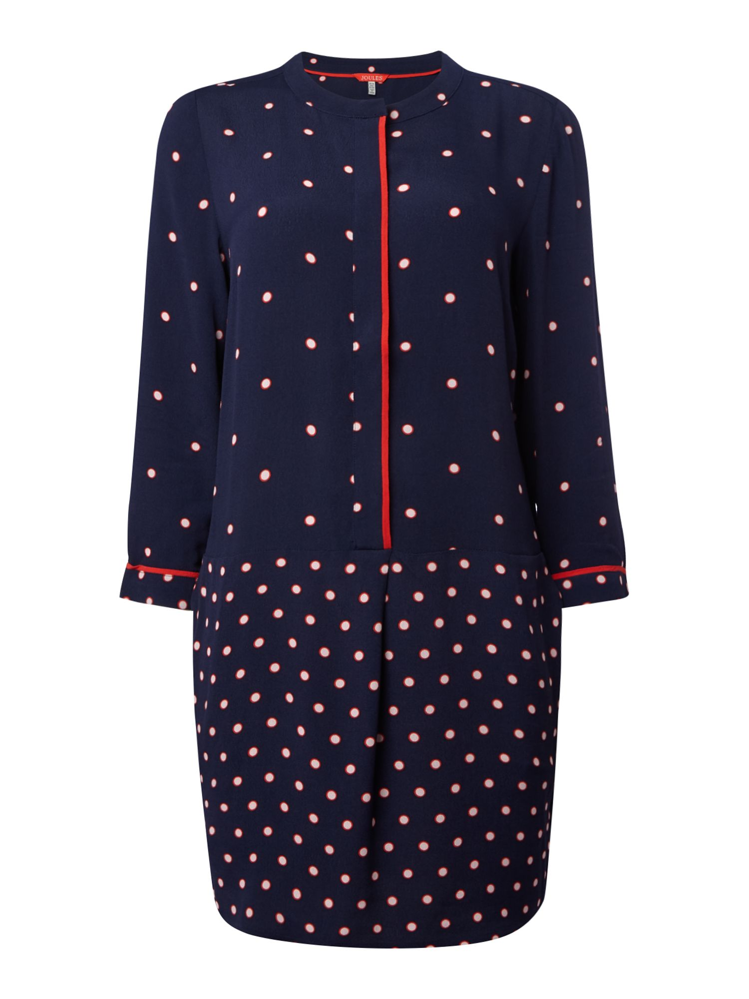 Joules Long sleeves v neck dot print tunic, French Blue