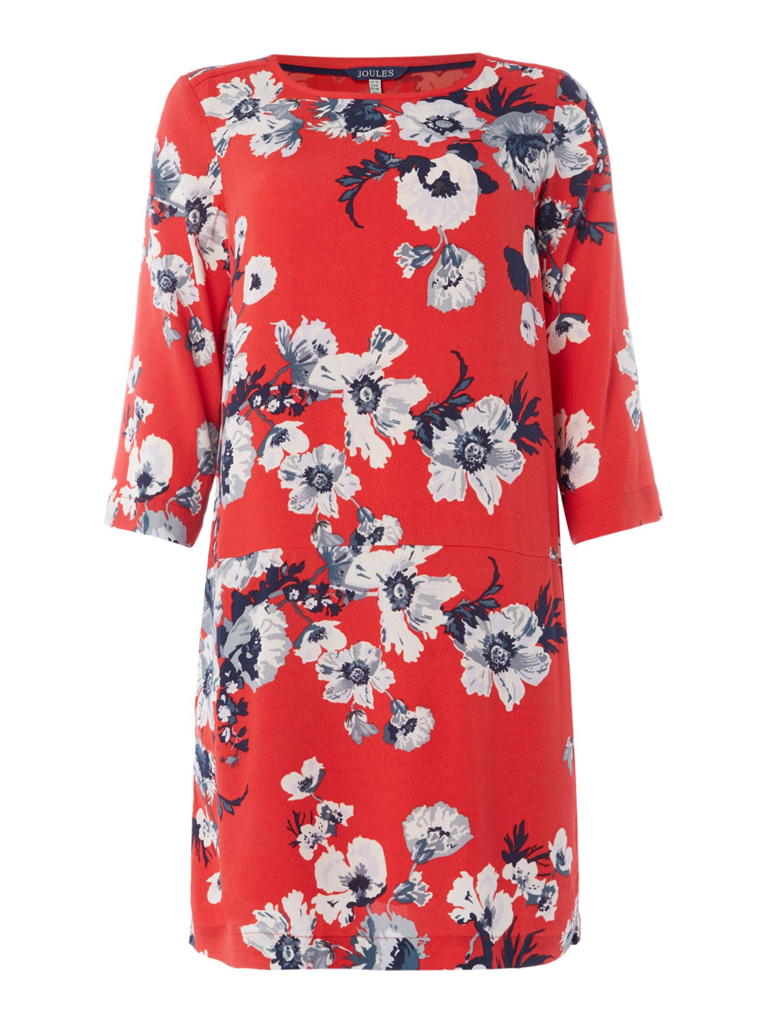 Joules Short sleeve crew neck floral woven shift dress, Red