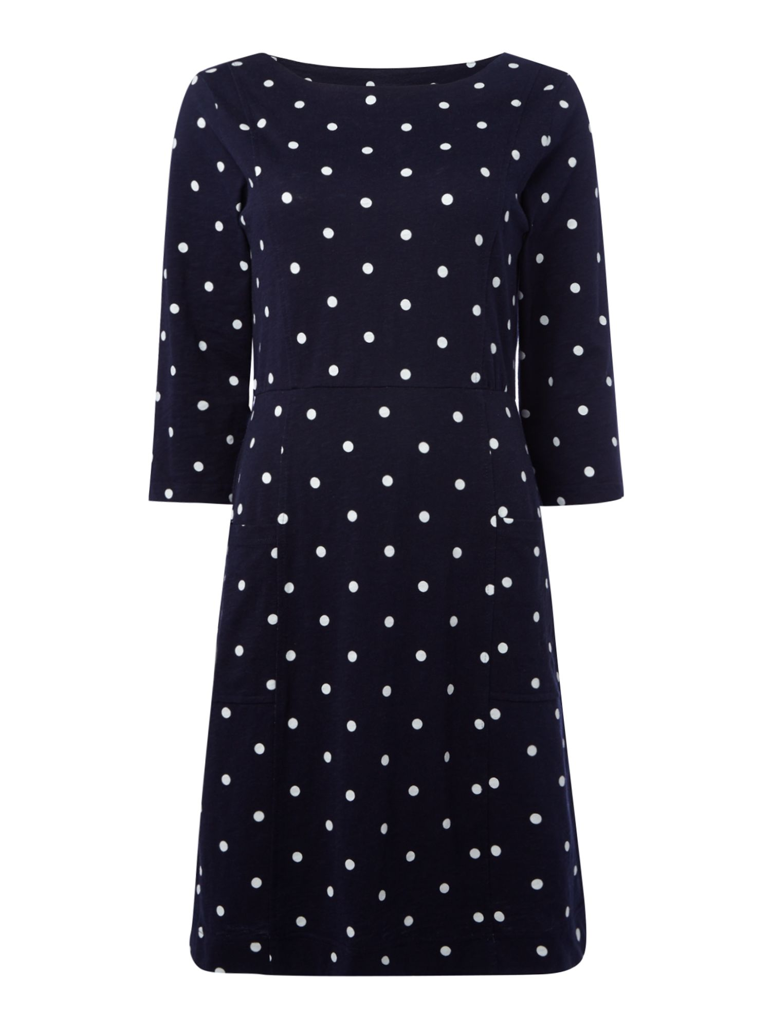 Joules 3/4 sleeves printed jersey shift dress, French Blue