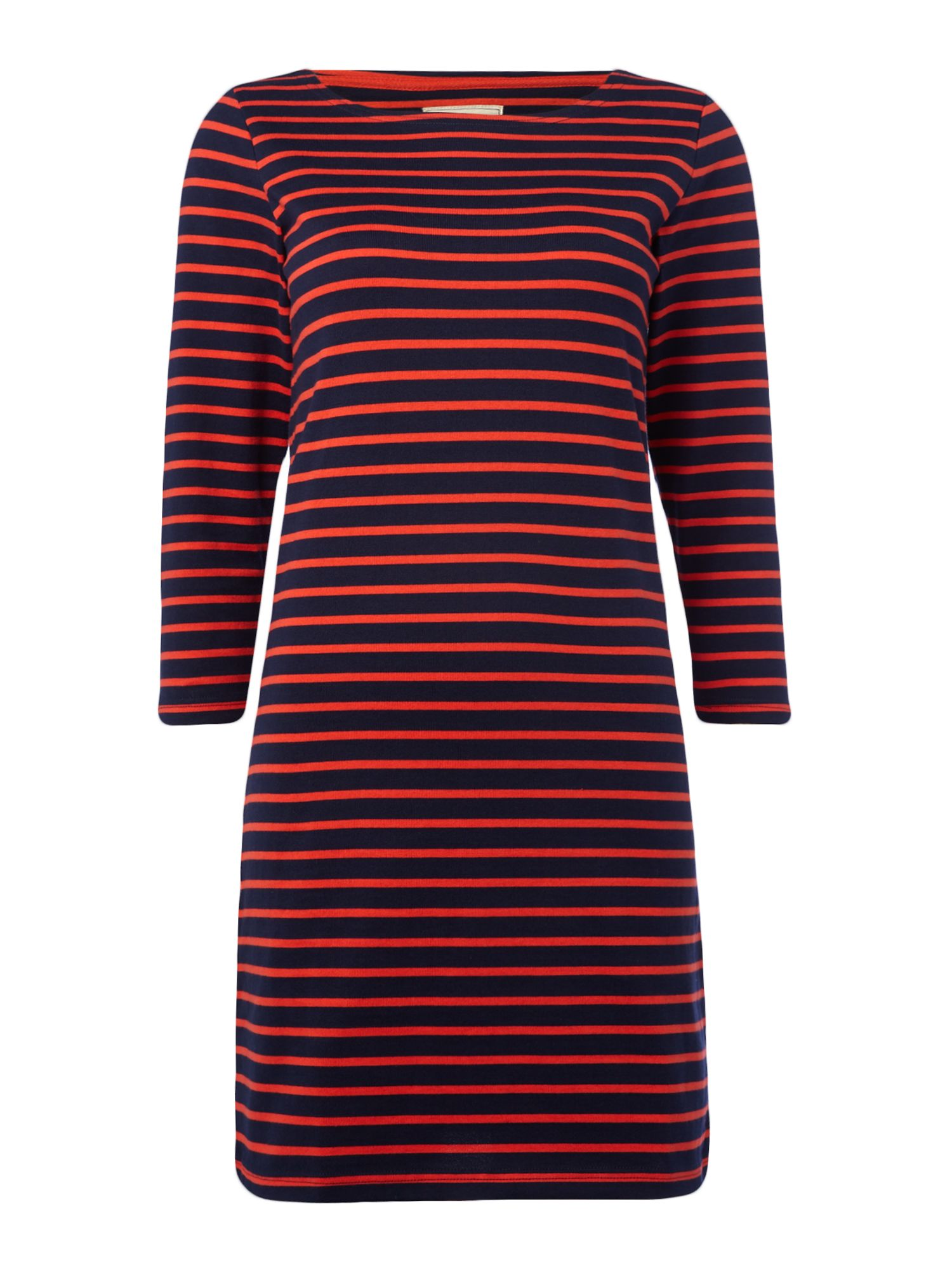 Joules 3/4 sleeve stripe Jersey Dress, Blue & Red