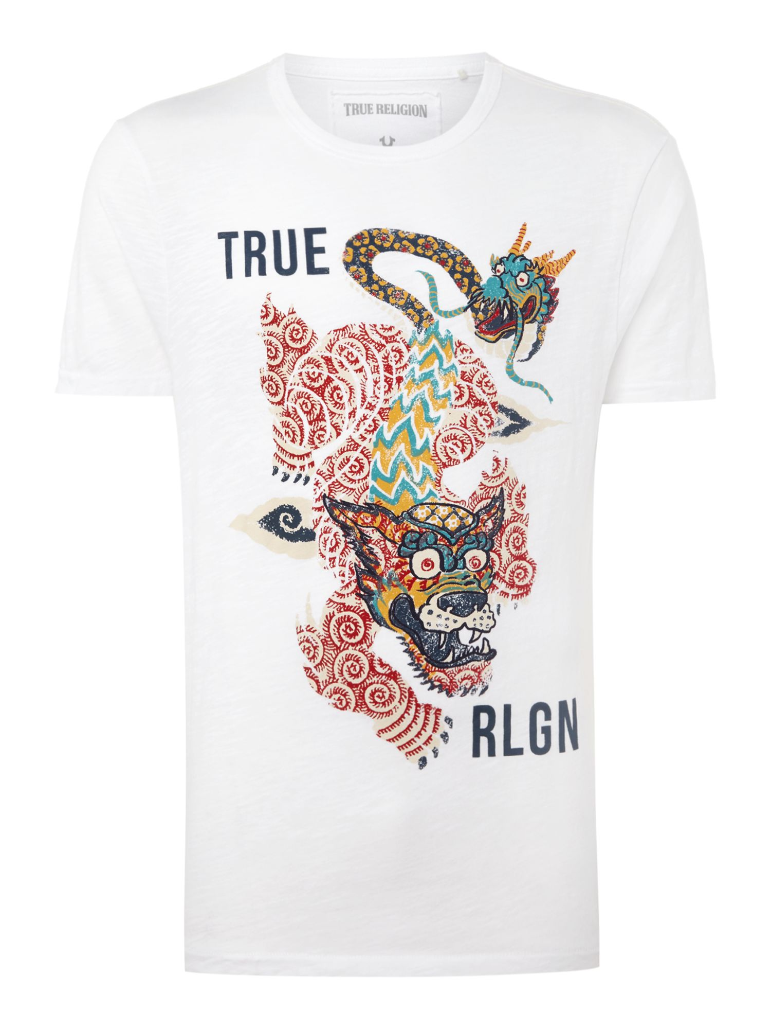 Men's True Religion Guardian dragon graphic t-shirt, White