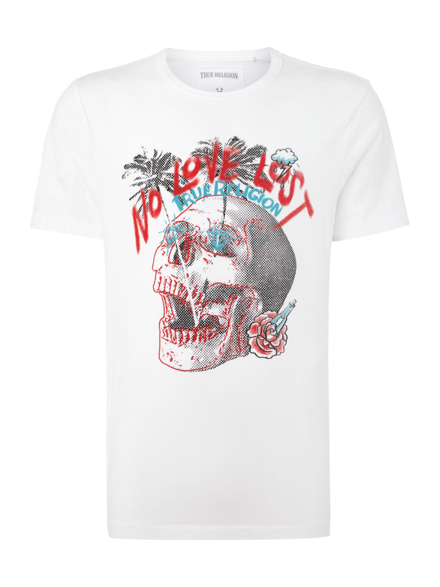 Men's True Religion No love lost skull graphic t-shirt, White