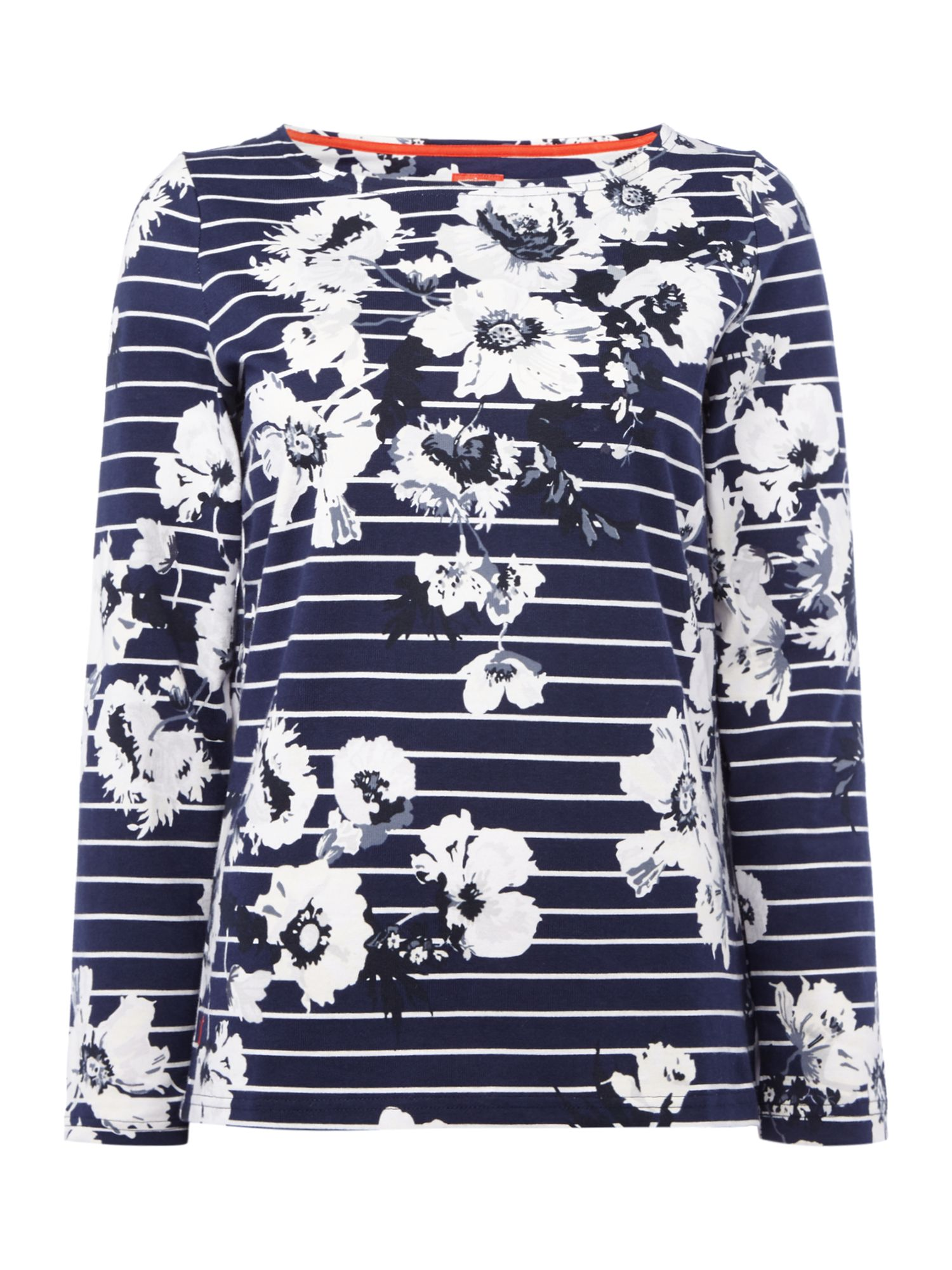 Joules Long sleeves crew neck printed jersey top, French Blue