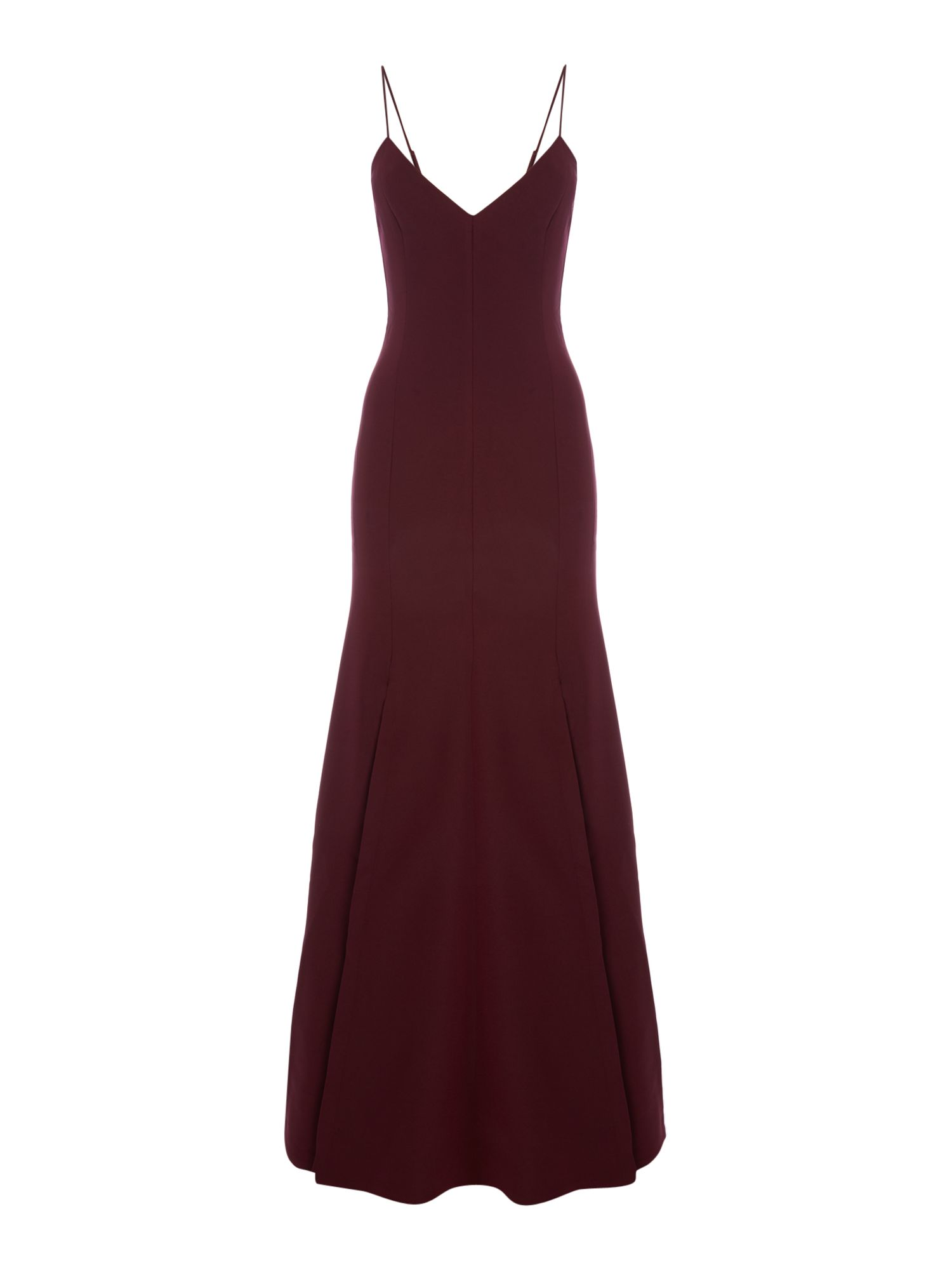 CMEO Pleated maxi dress with split, Red
