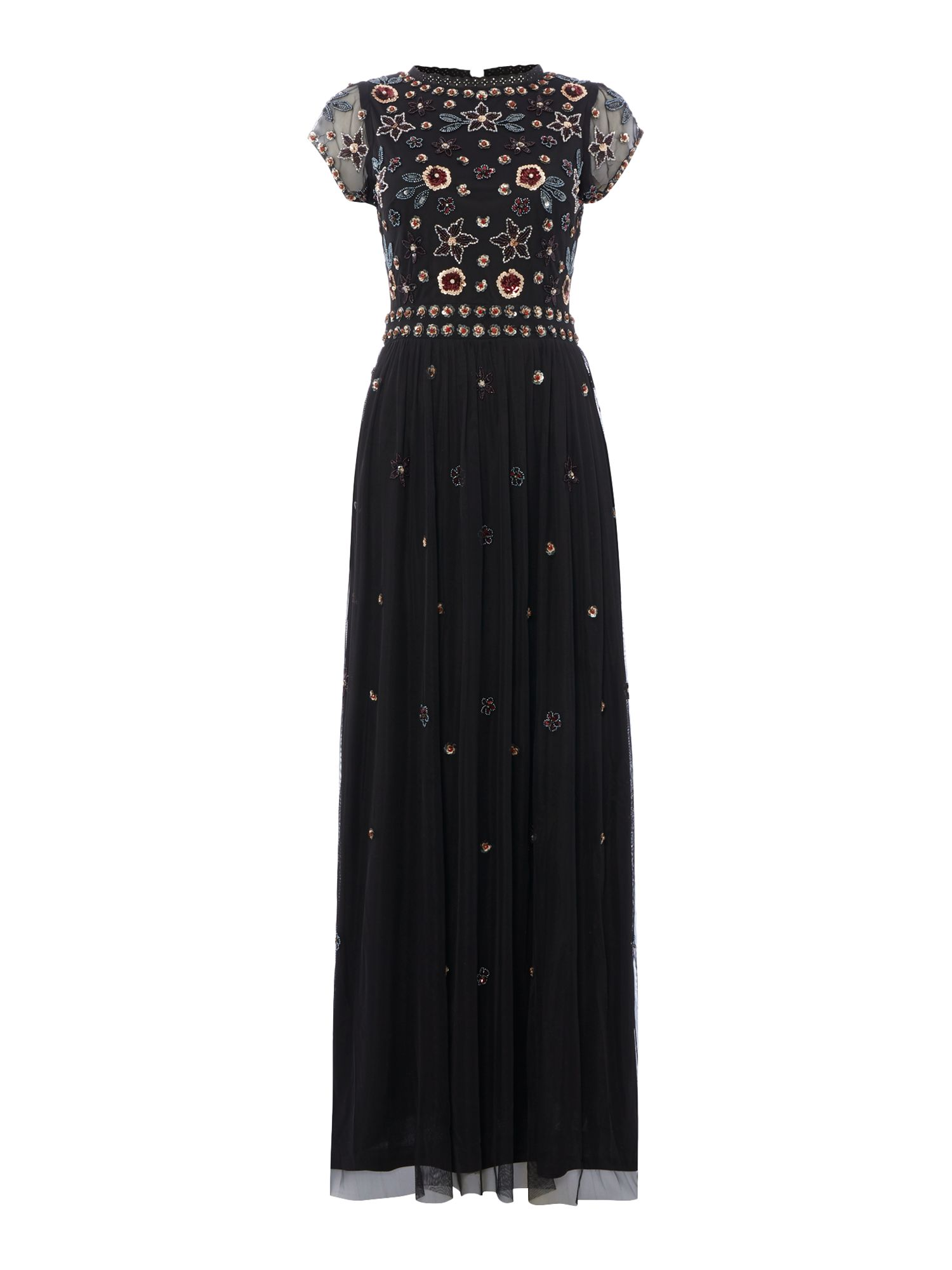 Frock and Frill Sleeveless Mesh Sequin Maxi Dress, Black