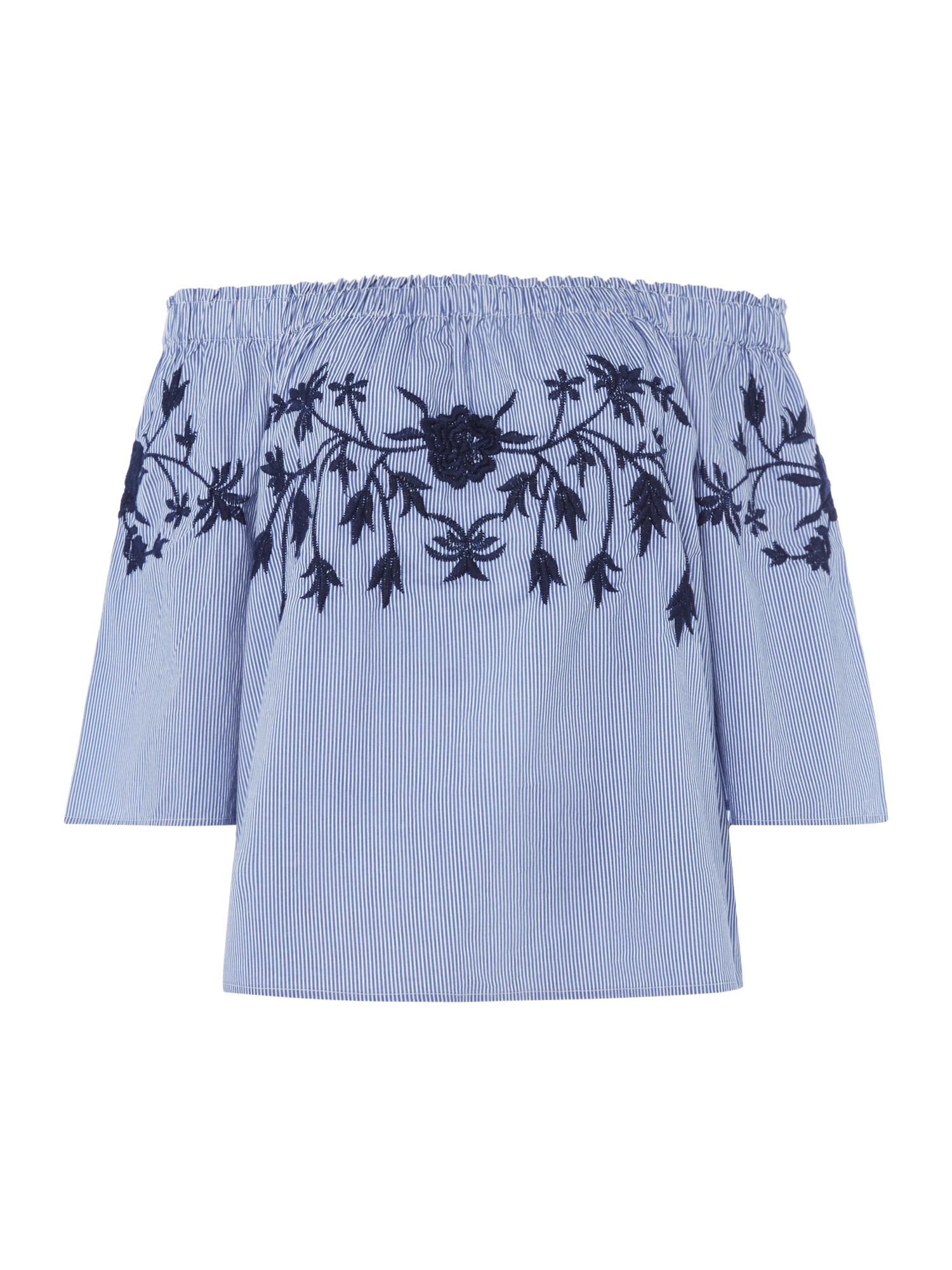 Vero Moda Off Shoulder 3/4 sleeves midi top, Light Blue