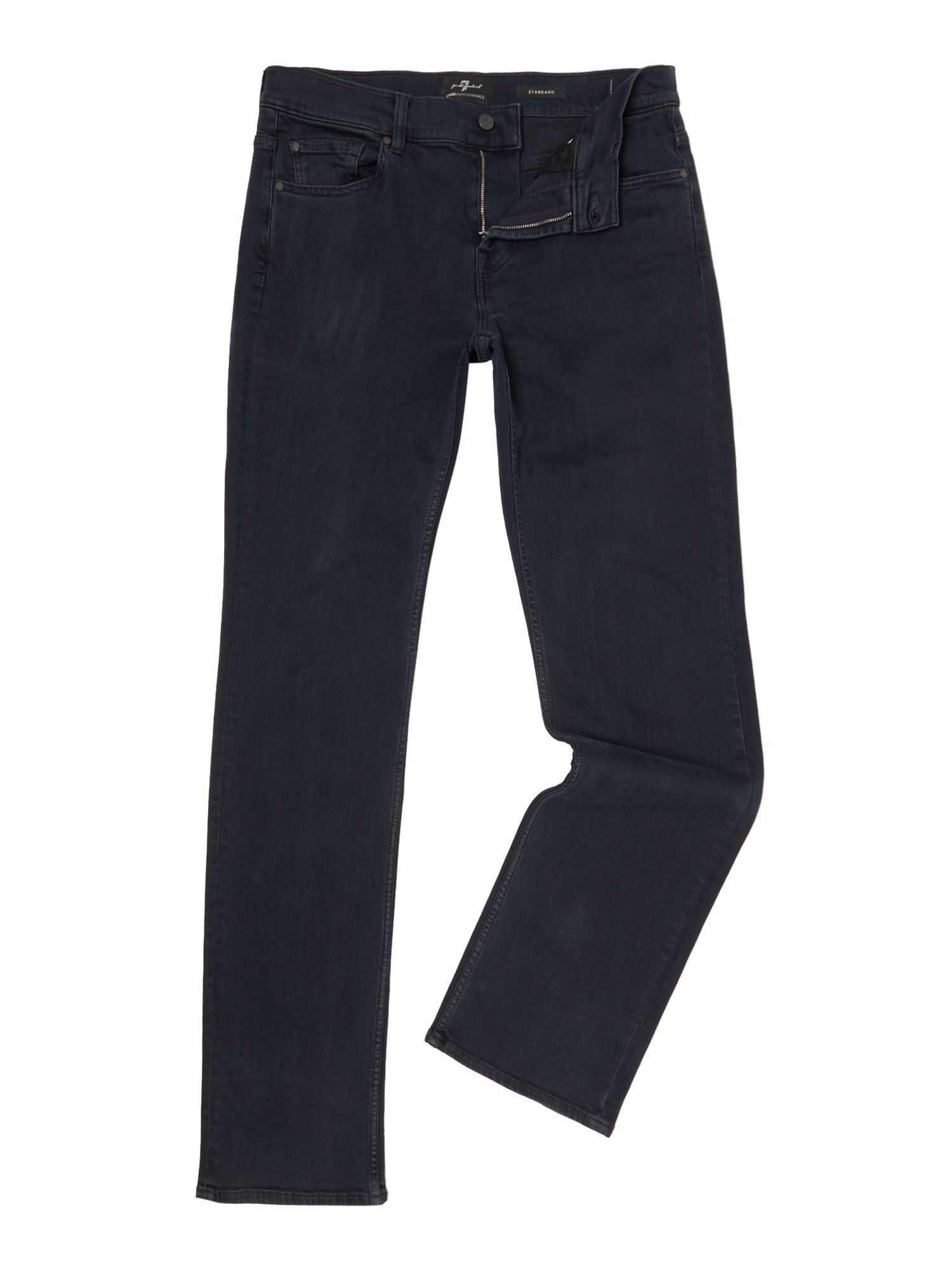 Mens Standard Fit Luxe Performance Jeans, Deep Blue
