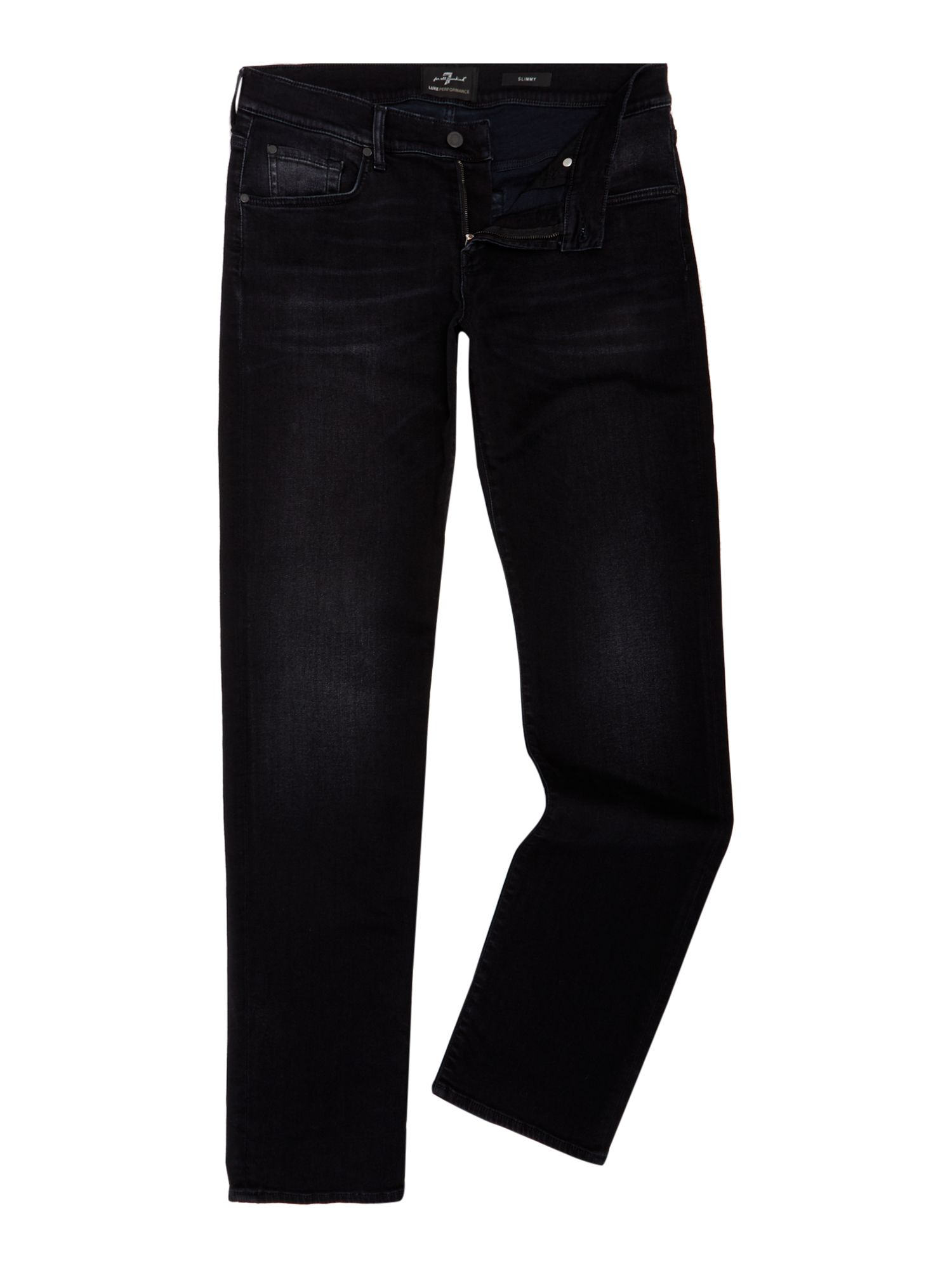 Mens Slim Fit Slimmy Luxe Performance Jeans, Black