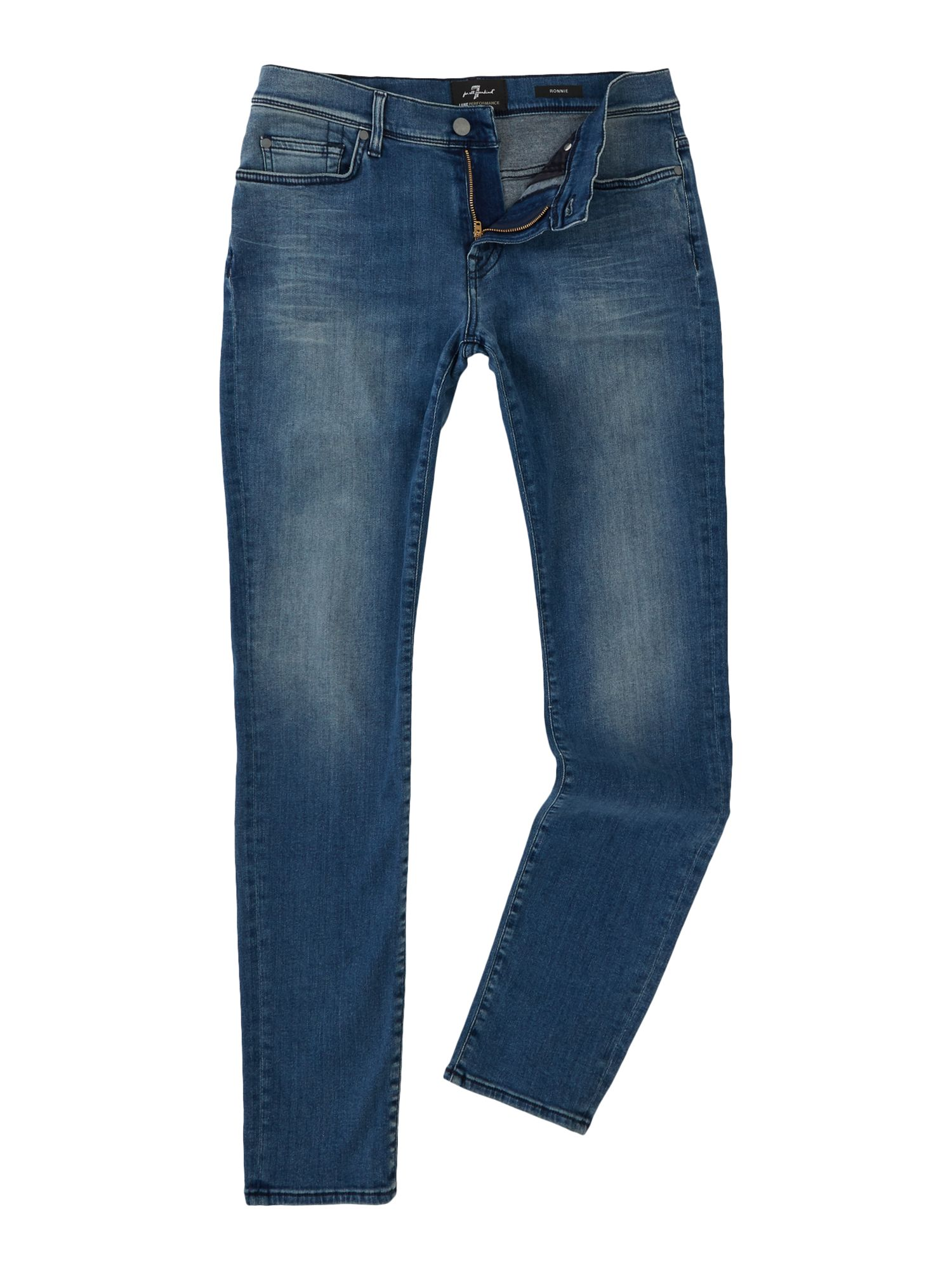 Mens Skinny Fit Ronnie Luxe Performance Jeans, Denim Light Wash