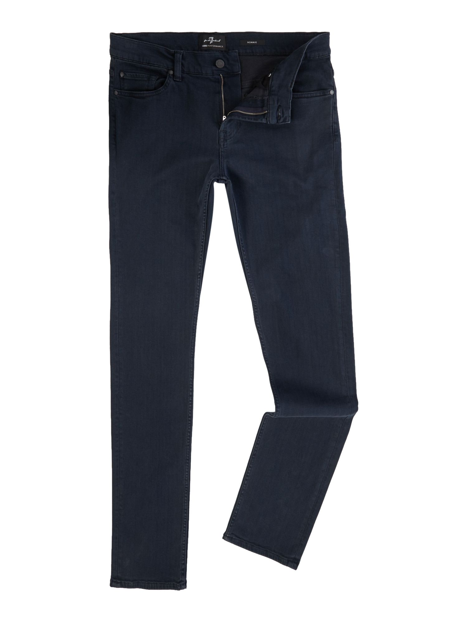 Mens Skinny Fit Ronnie Luxe Performance Jeans, Deep Blue