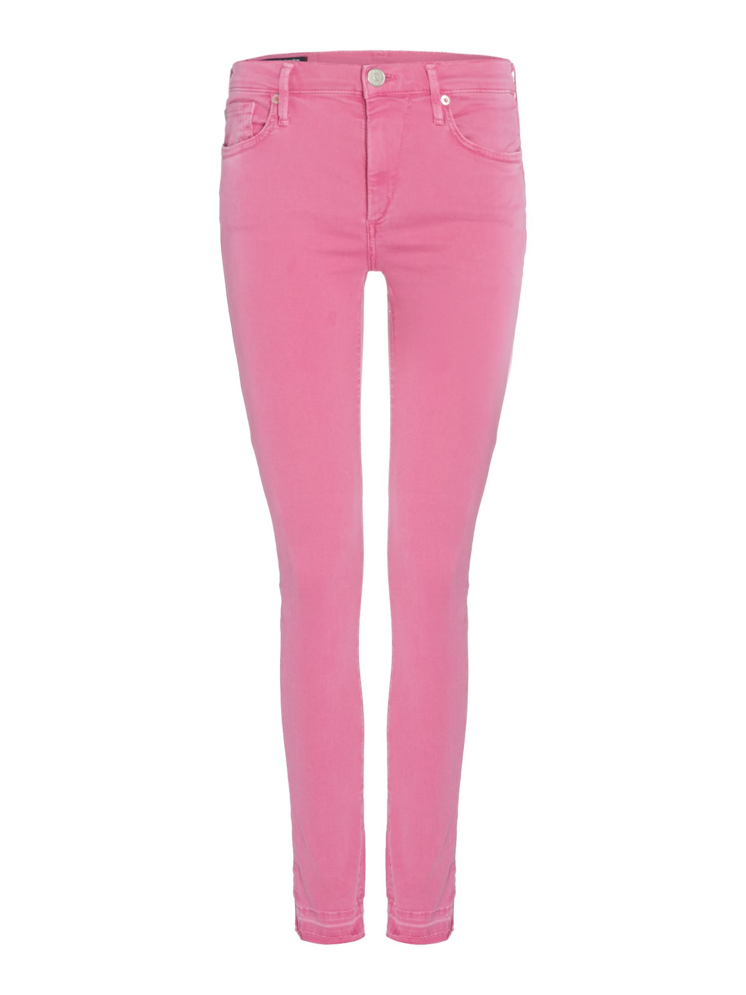 Halle Cropped With Raw Hem In Pink, Pink