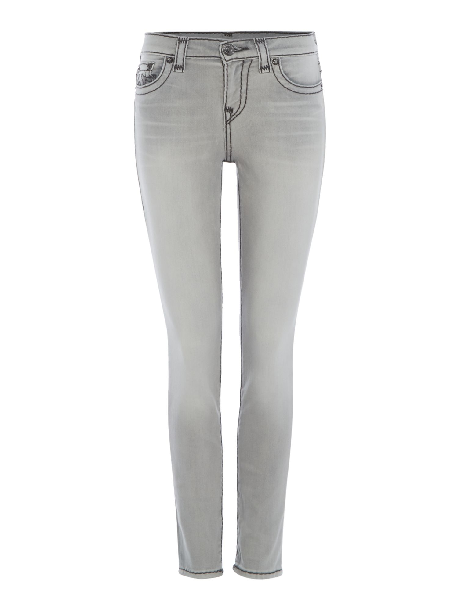 Halle Super T Jeans With Ripped Knee Detail, Light Grey