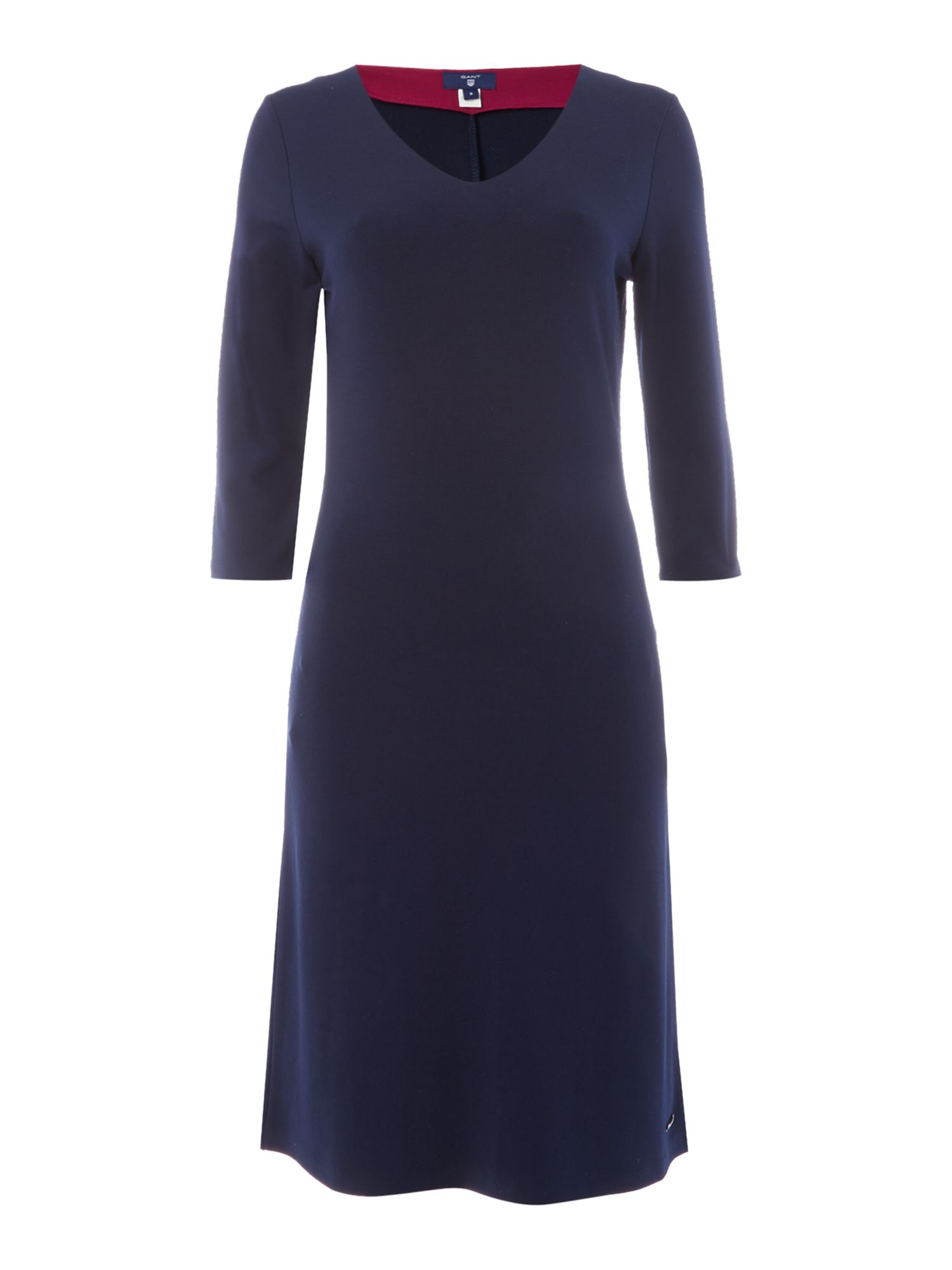 Gant Jersey V-Neck 3/4 Sleeve Dress, Blue