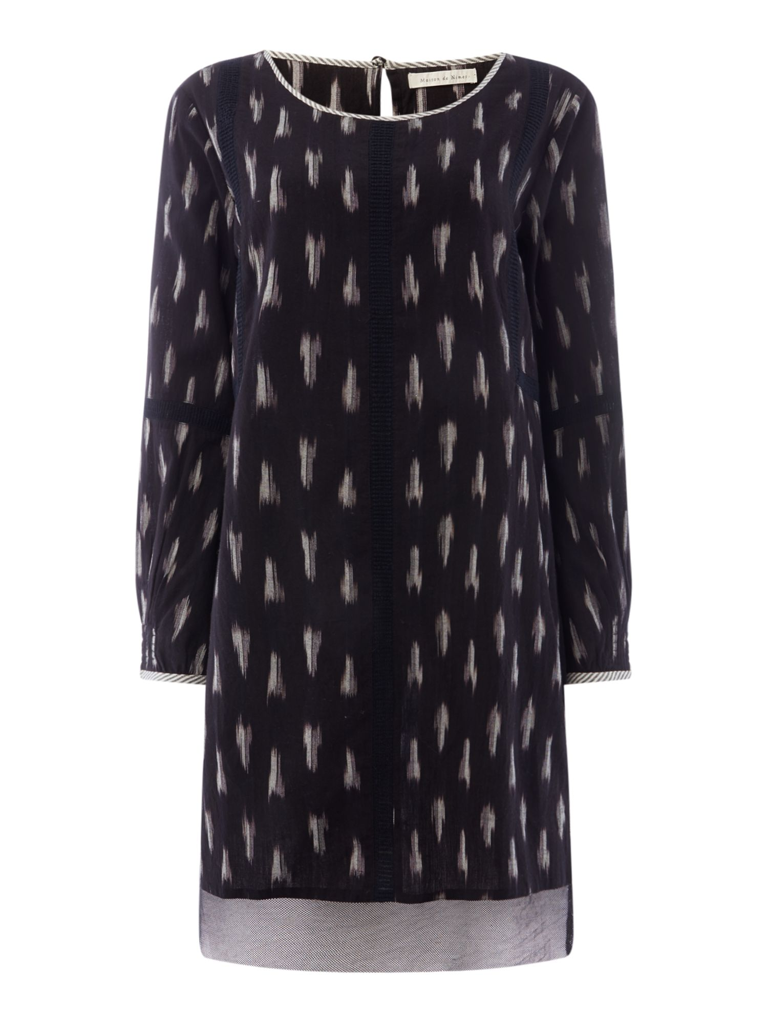 Maison De Nimes Ikat Peasant Dress, Black