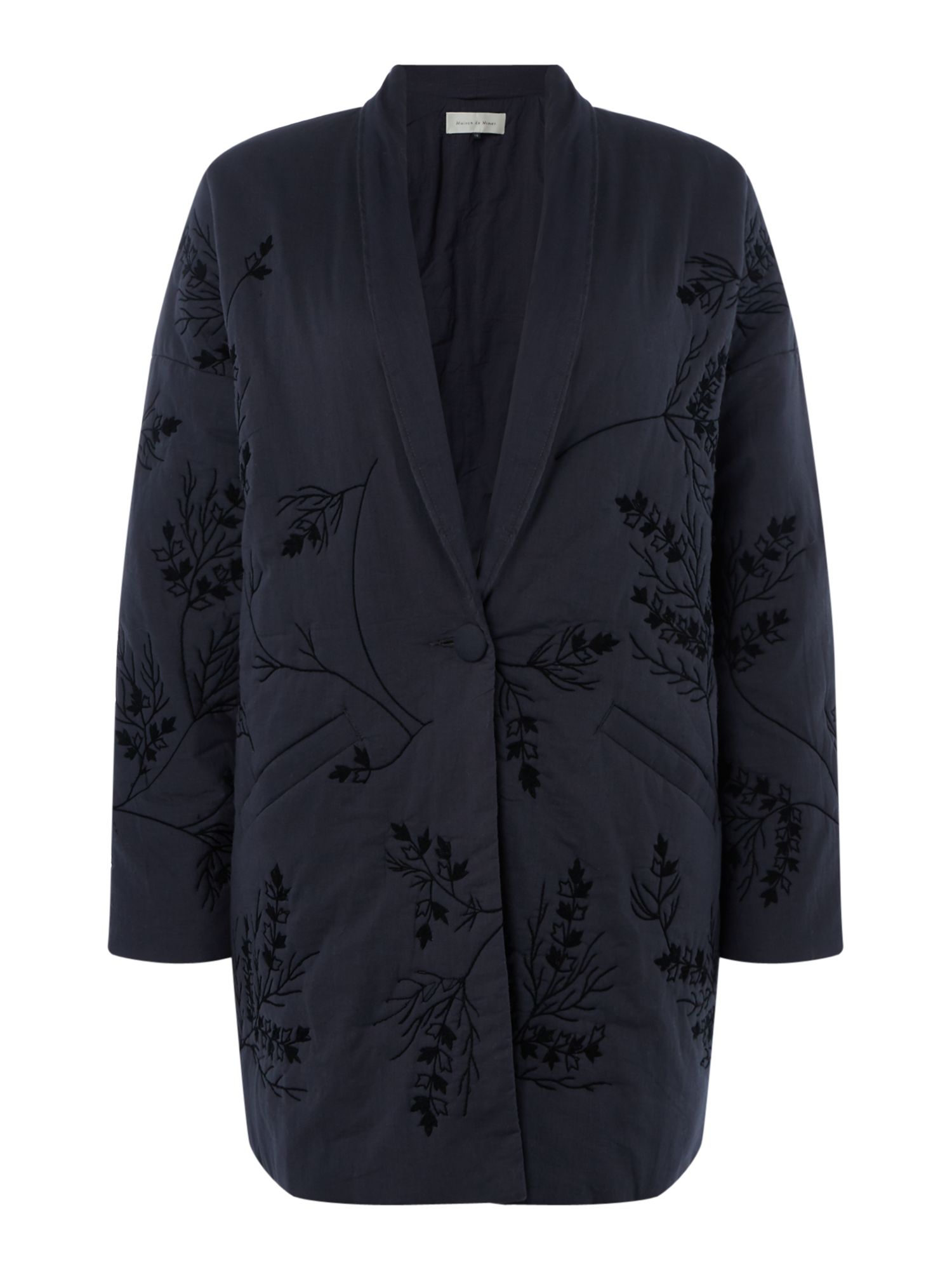 Maison De Nimes Embroidered Padded Coat, Blue