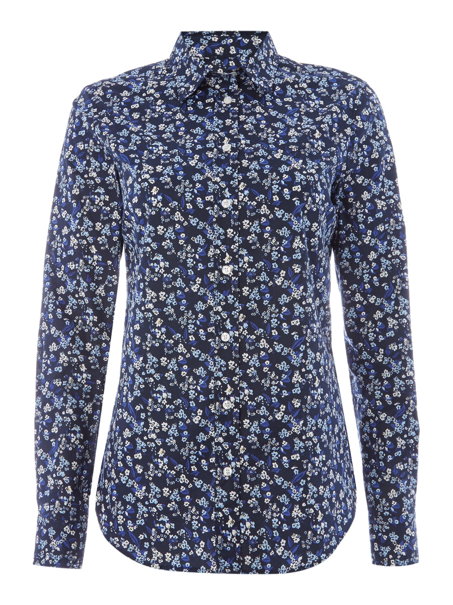 Gant Mini Floral Shirt In Stretch Broadcloth, Marine