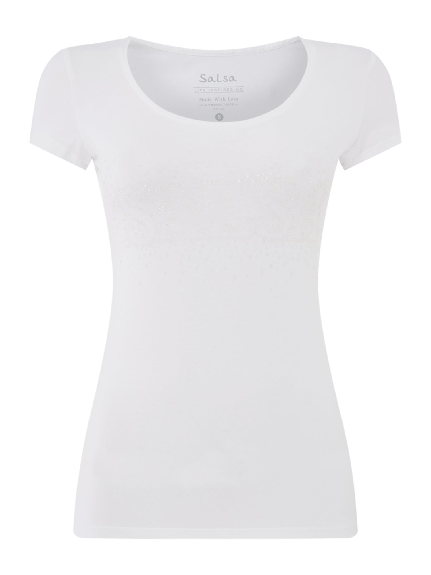 Salsa Short sleeve embellished logo tshirt, White