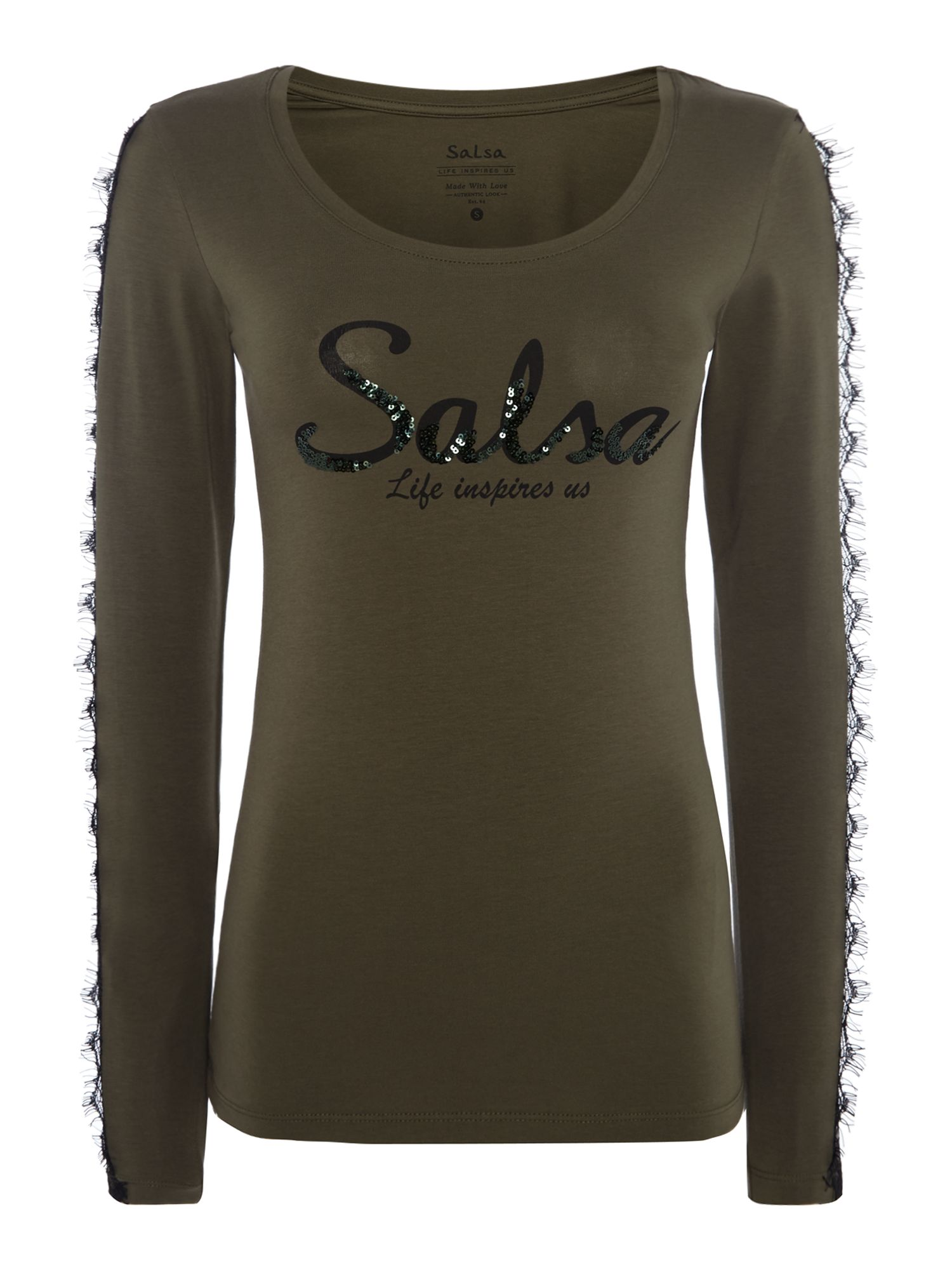 Salsa Long sleeve embellished logo lace sleeve tshirt, Khaki