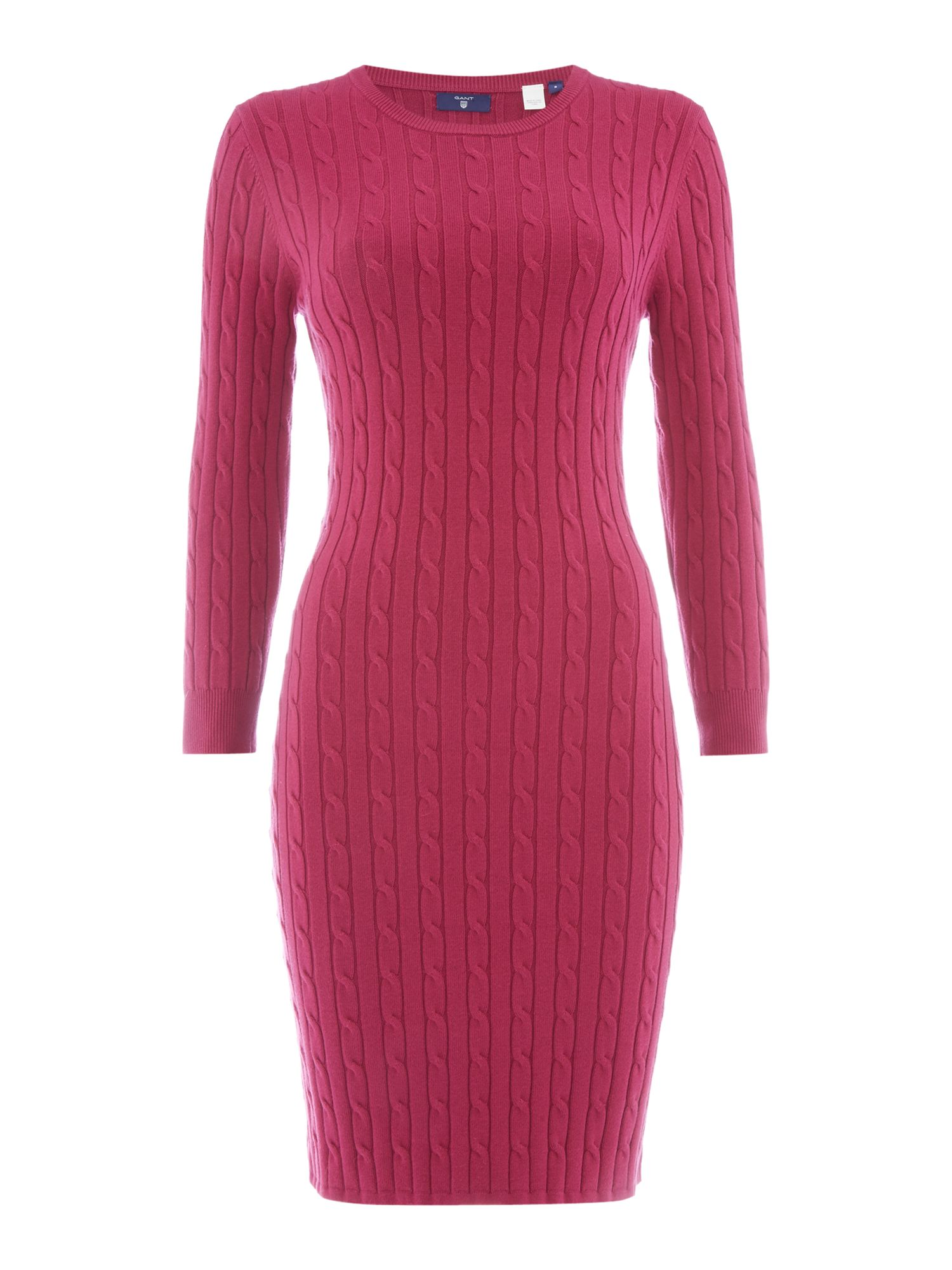 Gant Stretch Cotton Cable Knit Dress With 3/4 Sleeves, Raspberry