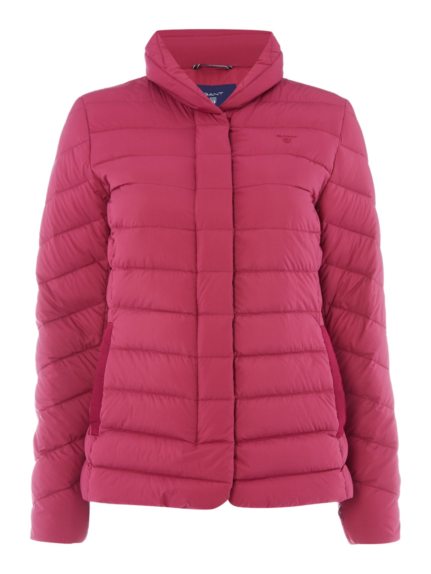 Gant Lightweight Down Short Jacket With Stand Collar, Raspberry