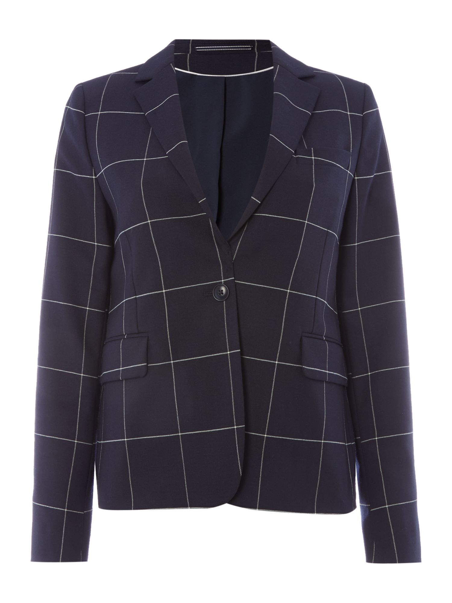 Gant Blazer With Single Button In Checked Pattern, Midnight Blue
