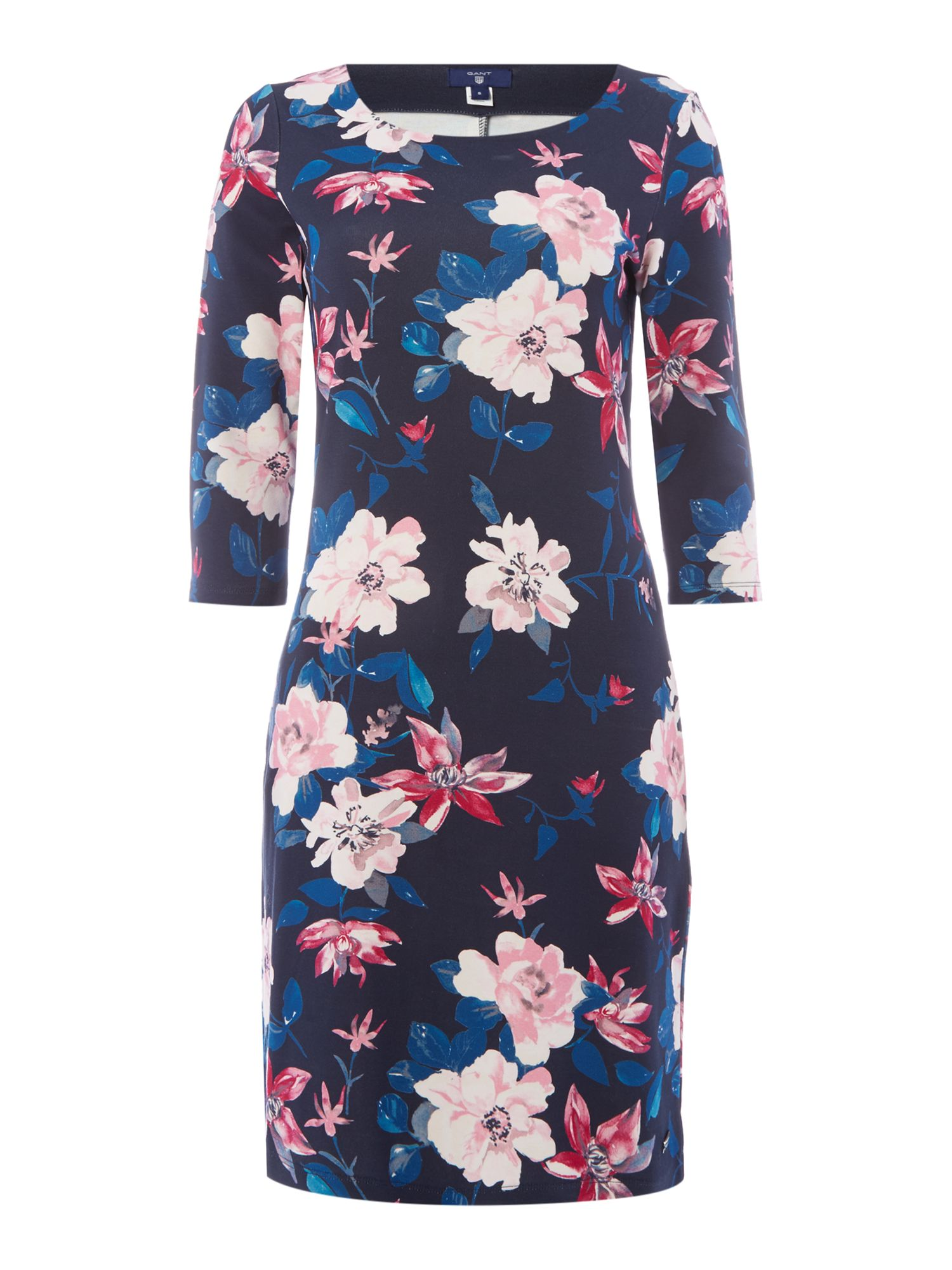 Gant Floral 3/4 Sleeve Jersey Dress, Multi-Coloured
