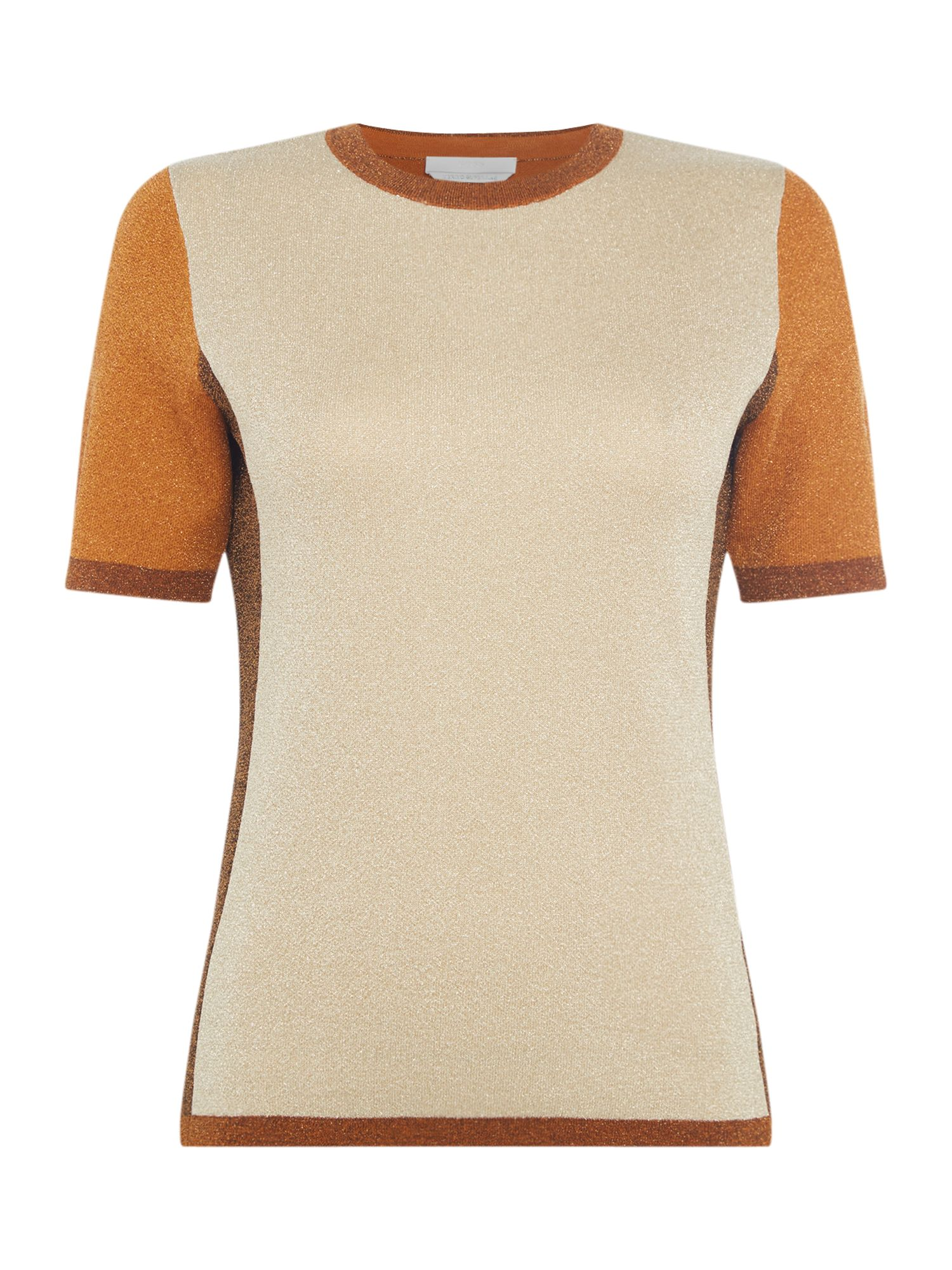 Hugo Boss Fifer lurex colour block knitted top, Gold