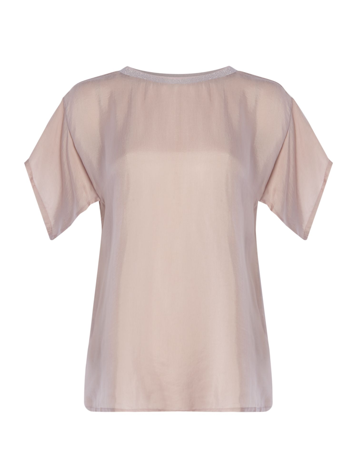 Maison De Nimes Cupro Mix Tee With Rib Trim, Pink