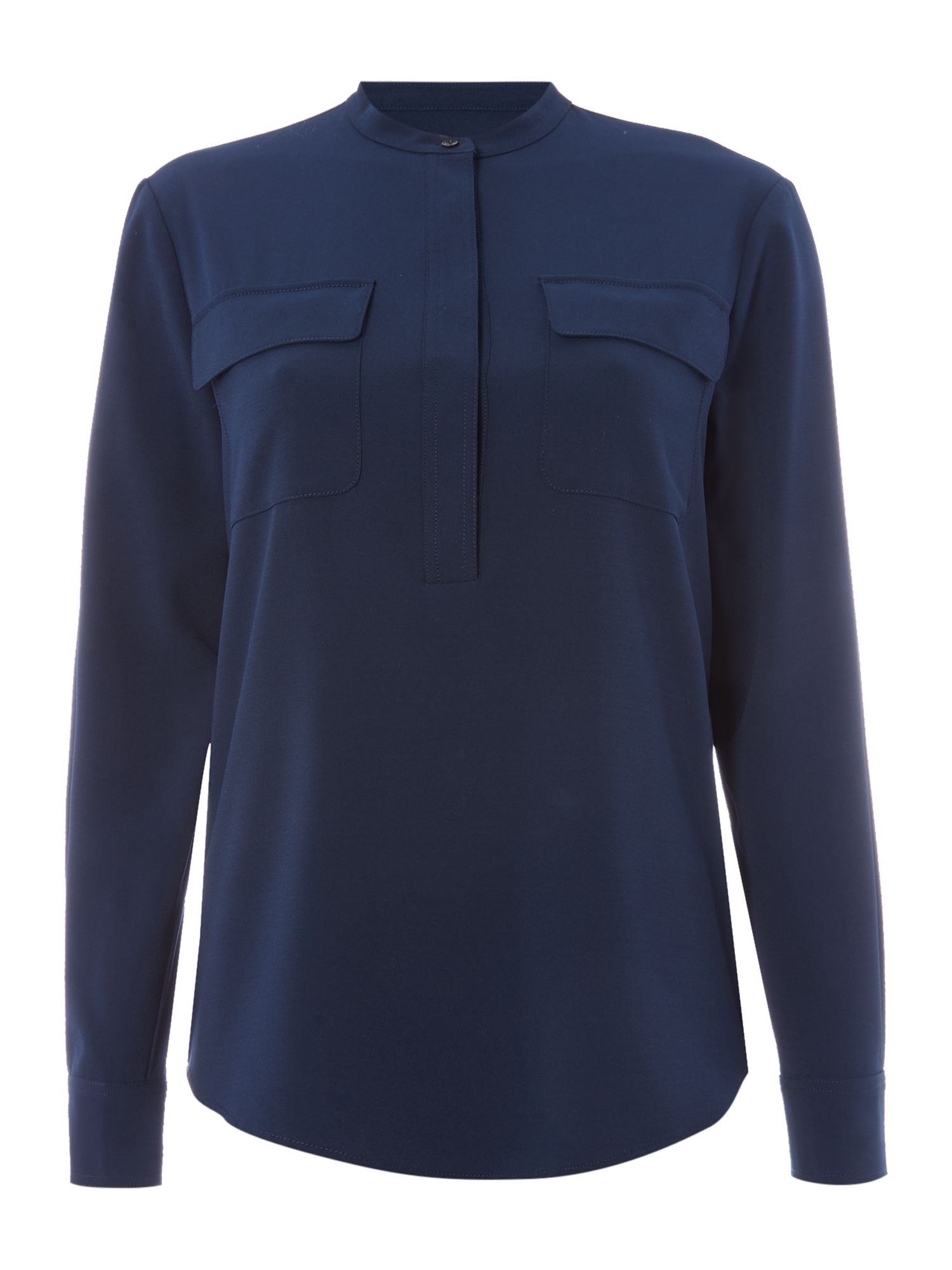 Gant Utility Blouse With Pockets In Crepe, Marine