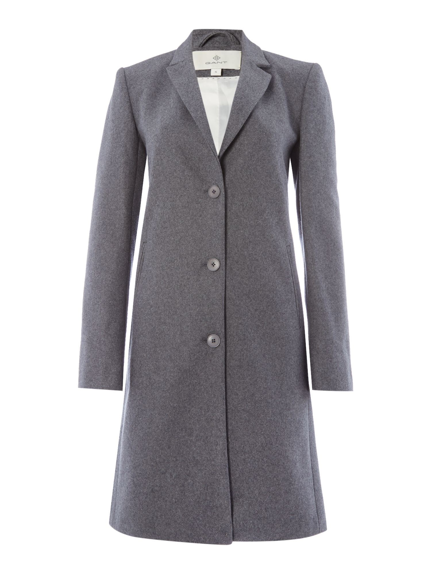 Gant Long Cashmere Coat With Button Front And Cuff, Grey