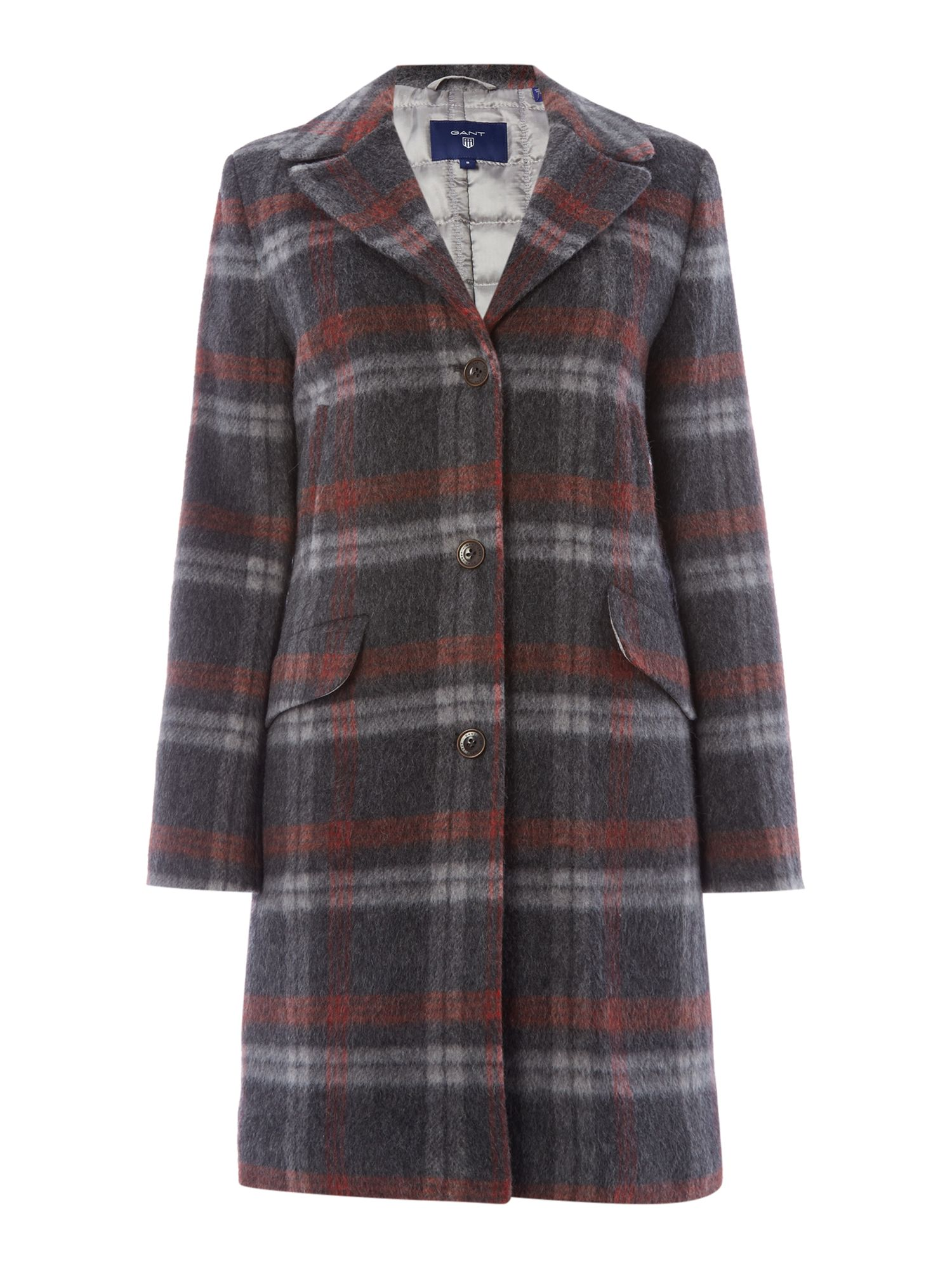 Gant Exclusive Checked Mohair Long Coat, Grey