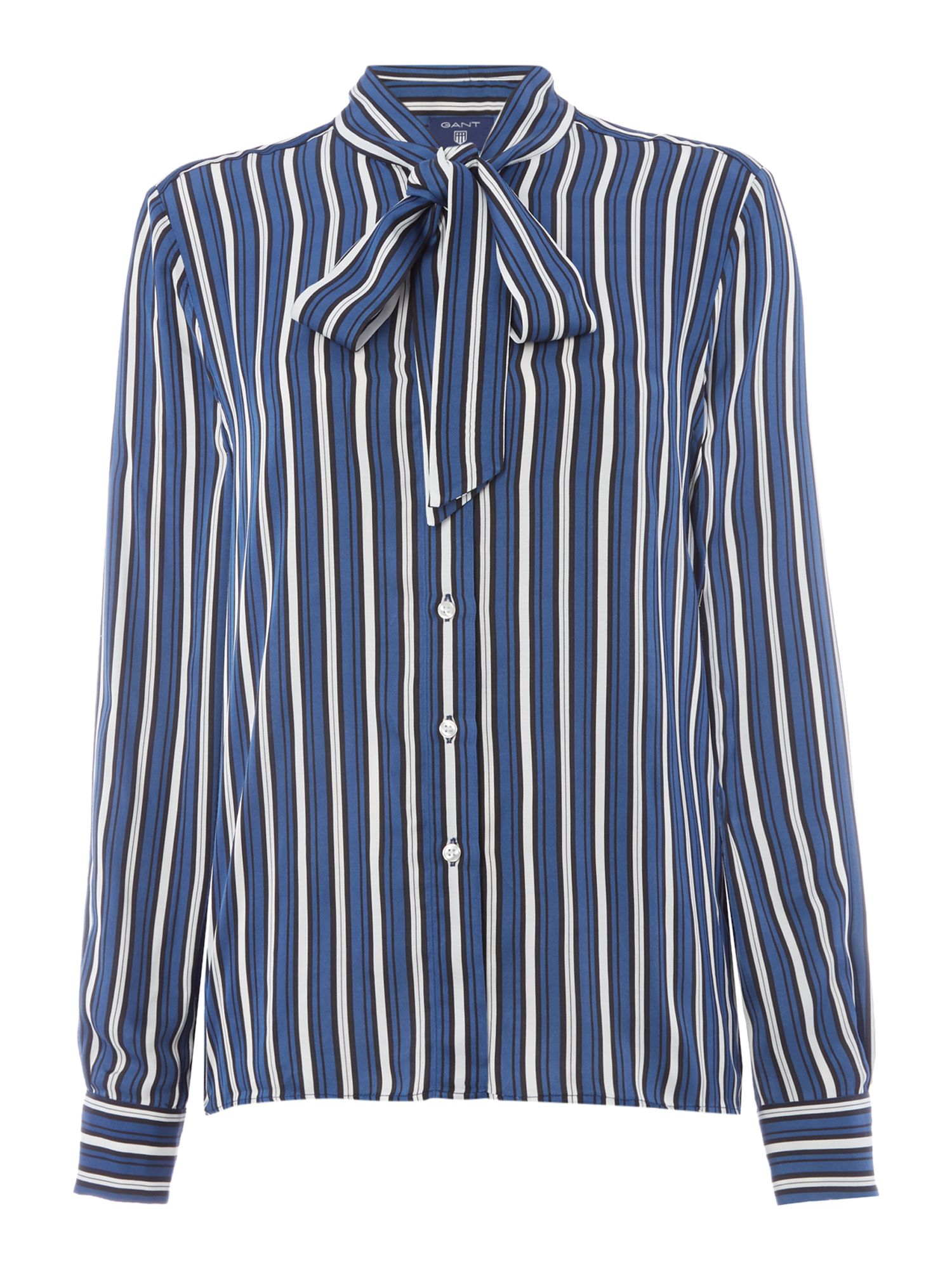 Gant Exclusive Virticle Stripe Blouse With Pussy Bow, Blue