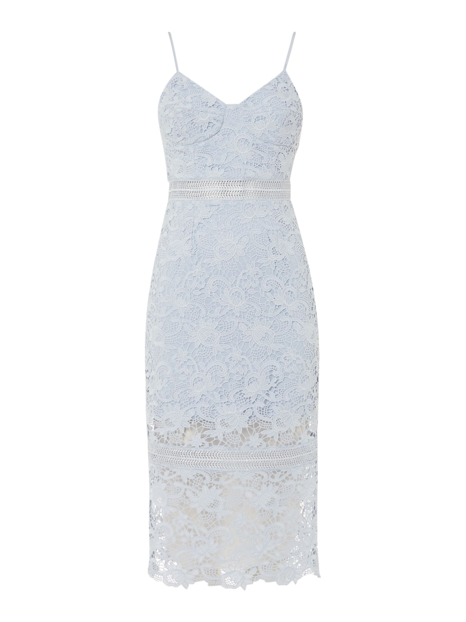 Bardot Strappy Lace Bodycon Dress, Blue