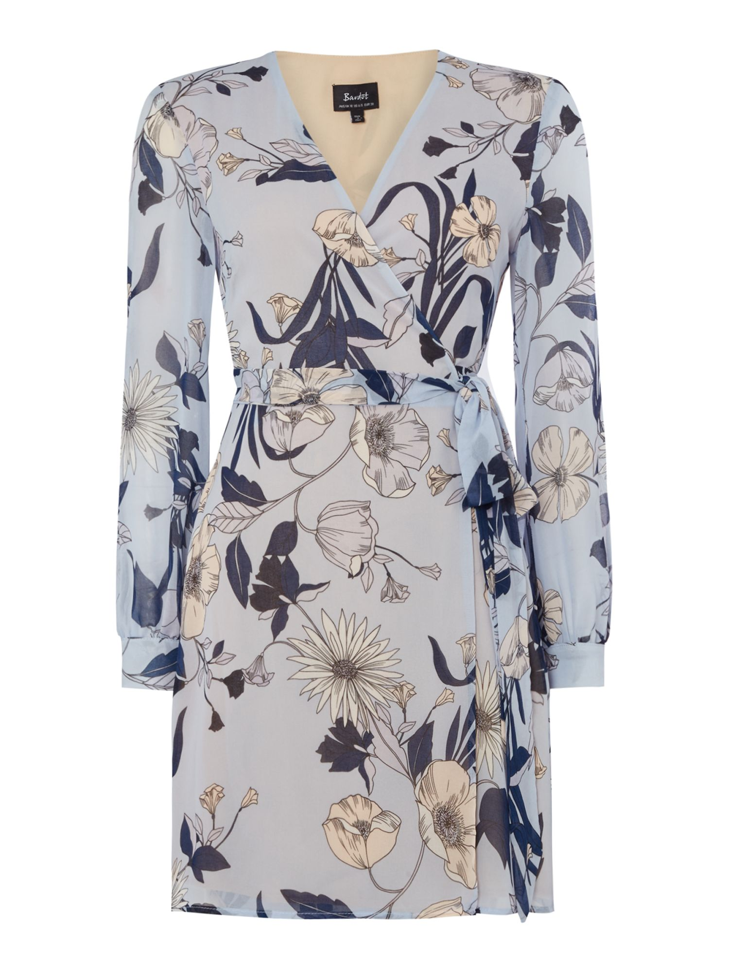 Bardot Floral V Neck Long Sleeved Dress, Multi-Coloured