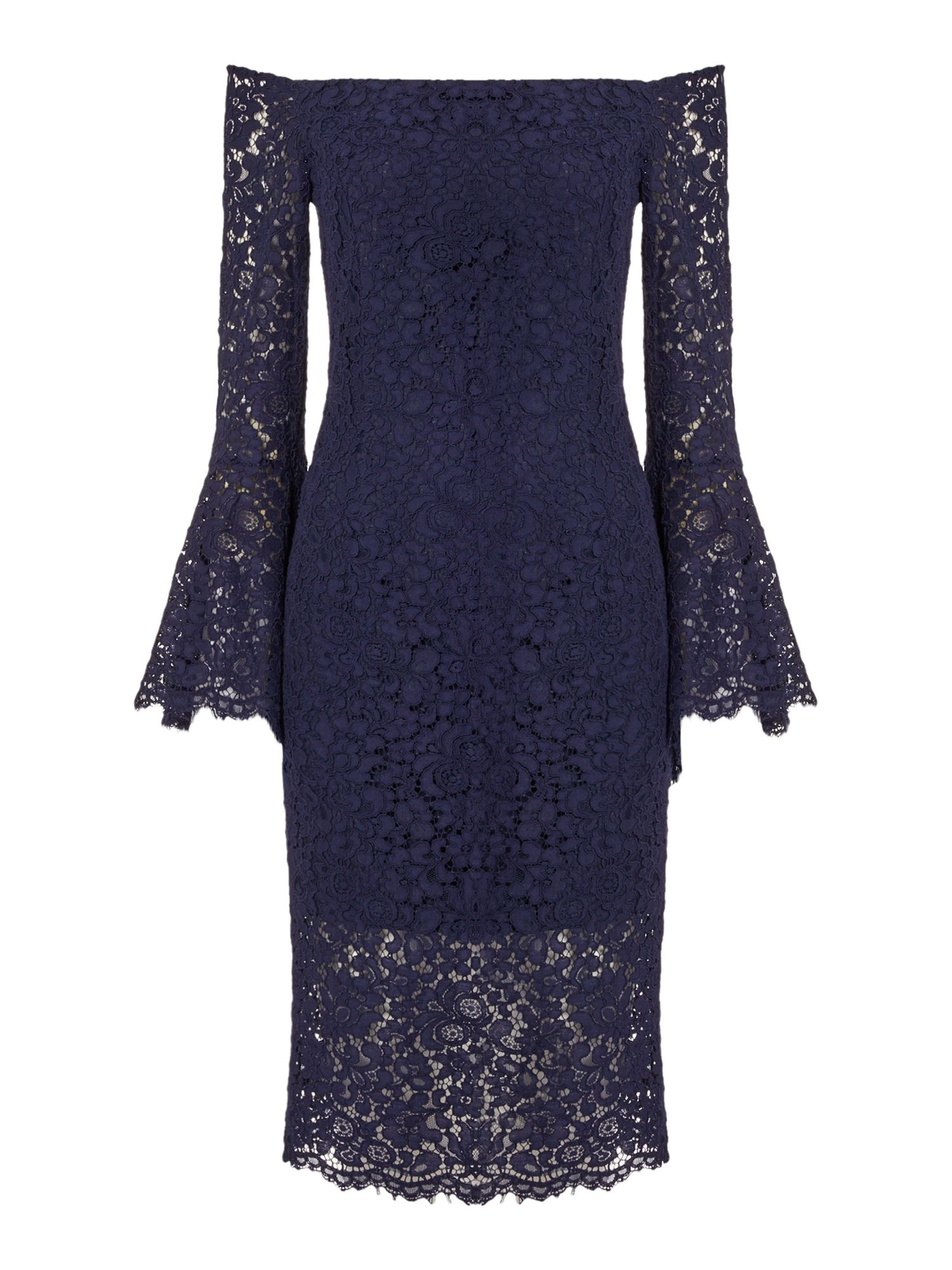 Bardot Plunge Lace Dress, French Blue