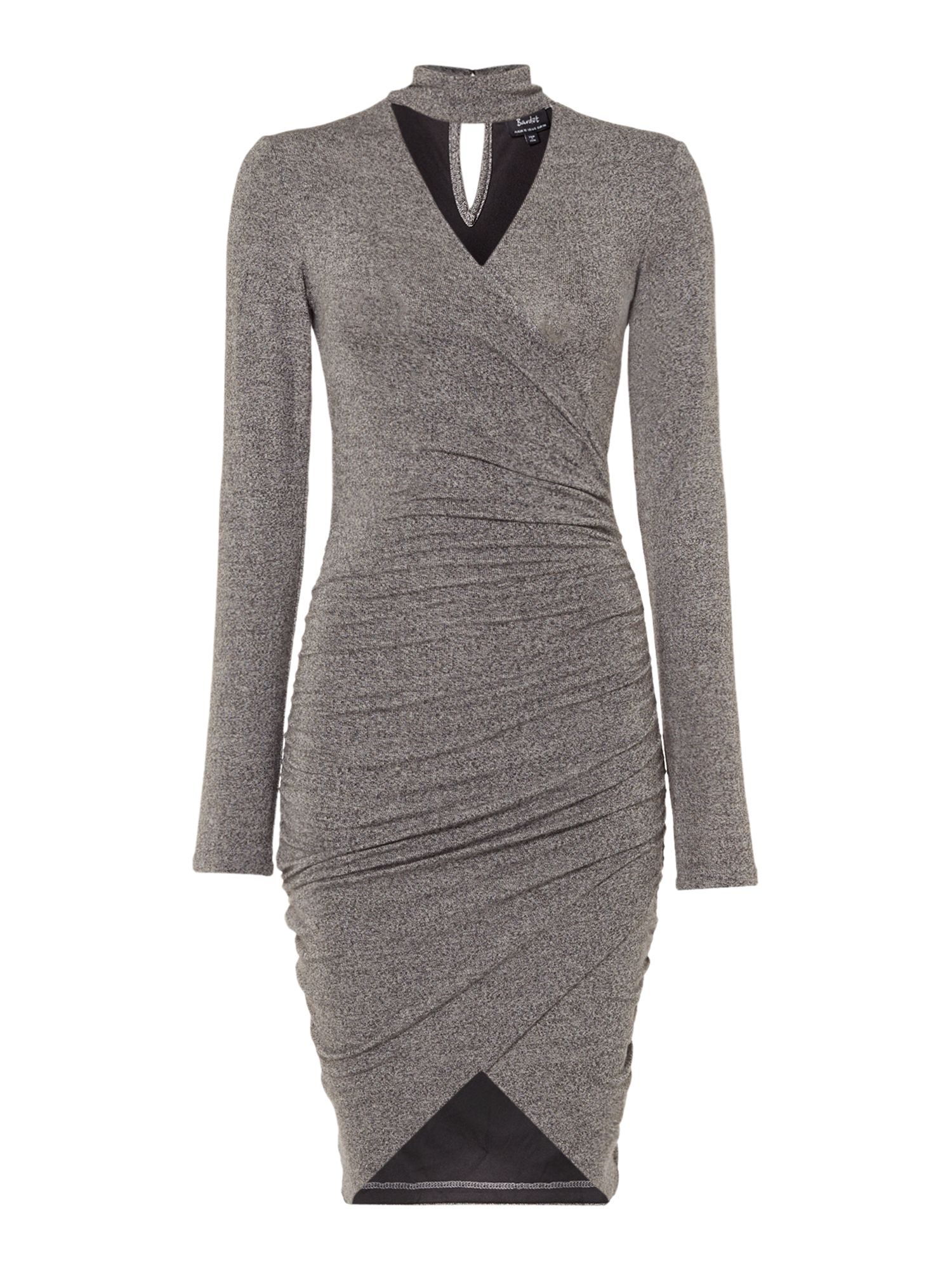 Bardot V Neck Draped Wrap Dress, Dark Grey