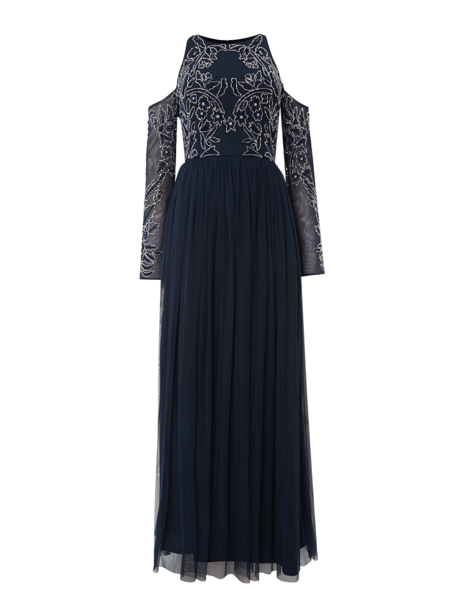 Lace and Beads Maxi dress with cold shoulder, Blue