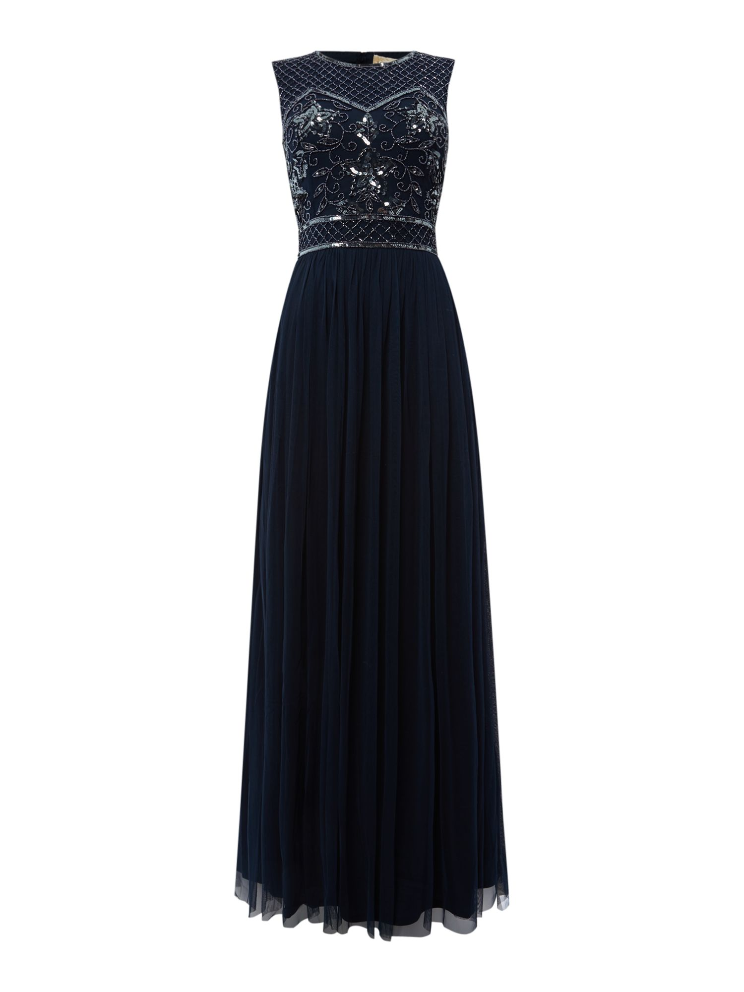 Lace and Beads Open back embellished maxi dress, Blue