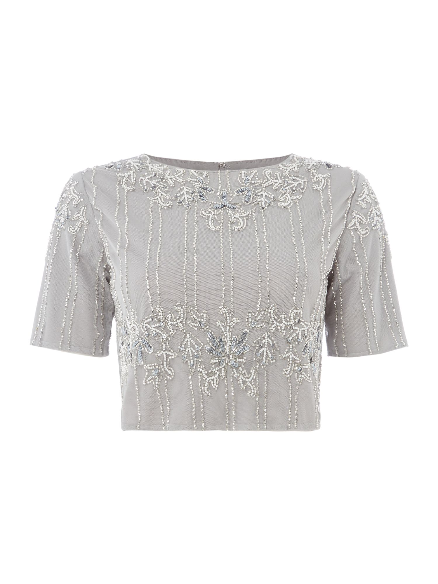 Lace and Beads TOP CAP SL EMBELLISHED CROP, Grey