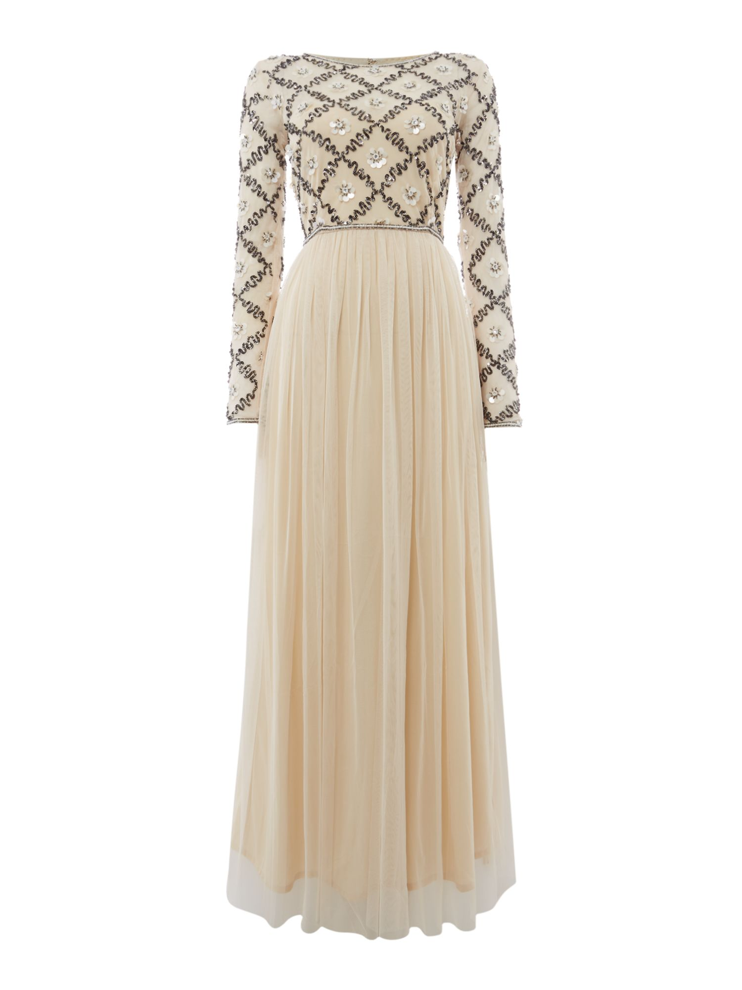Lace and Beads Embellished maxi dress, Cream