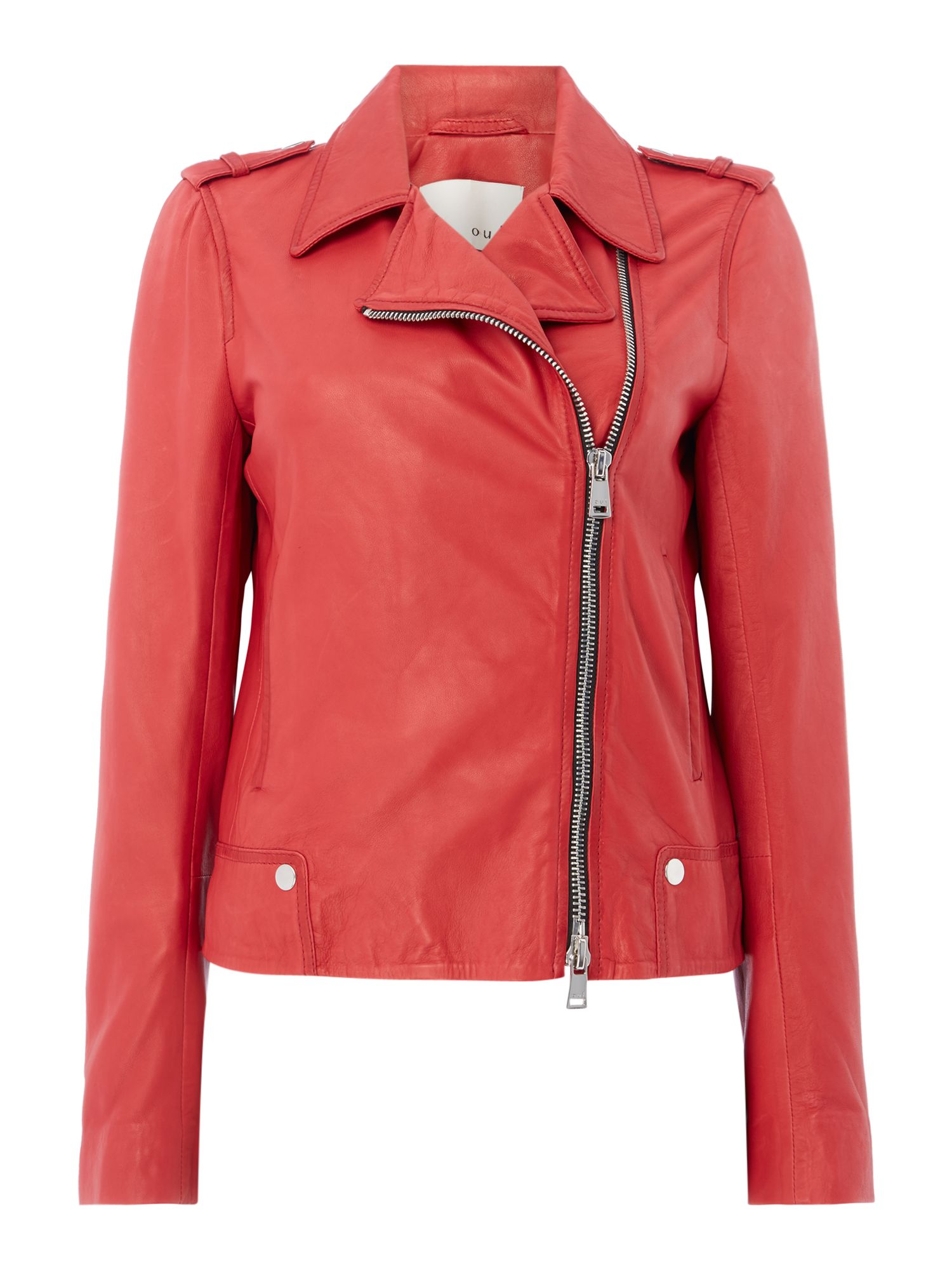 Oui Leather jacket, Scarlet