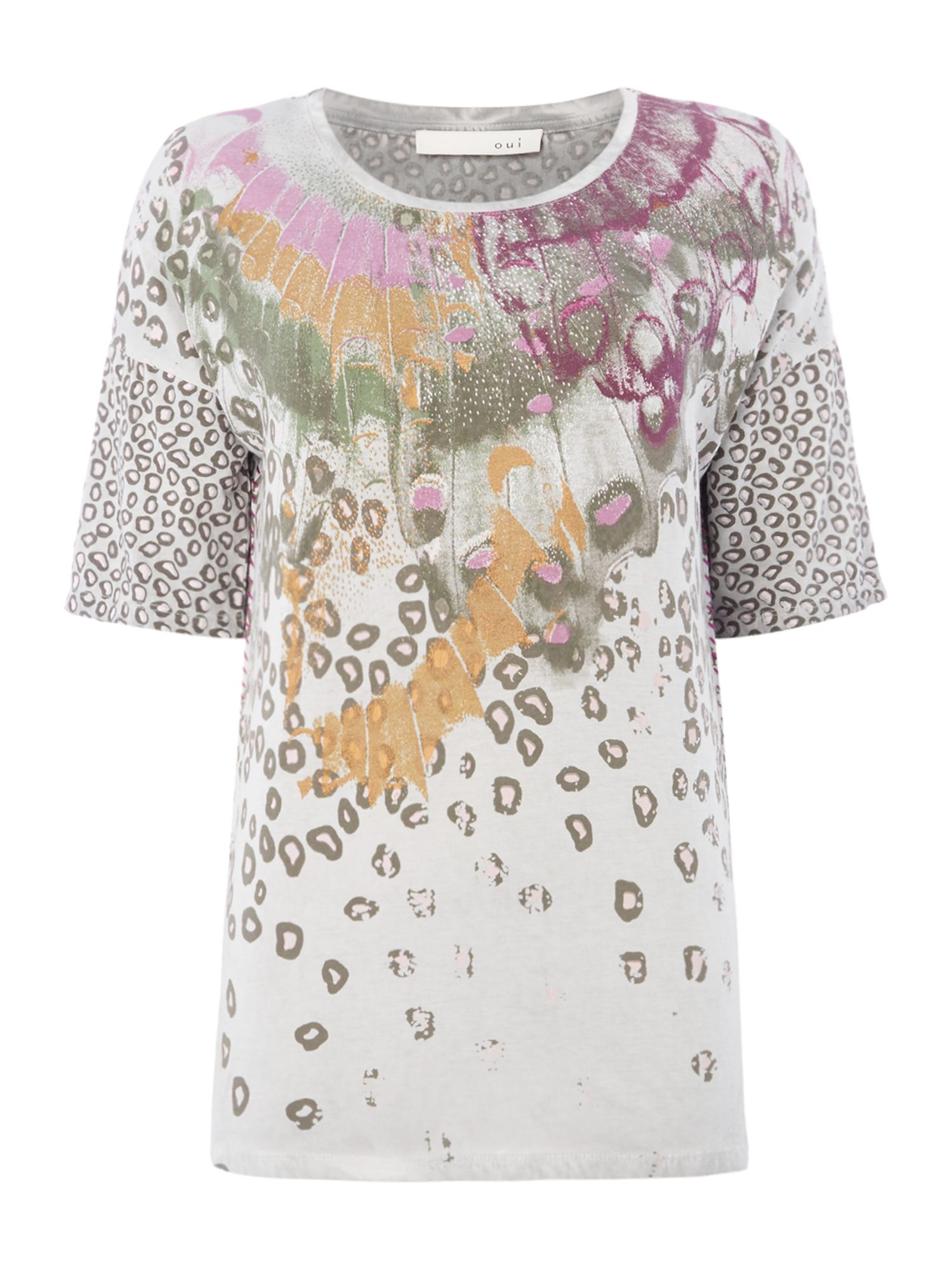 Oui Multi pattern leopard tee, Multi-Coloured