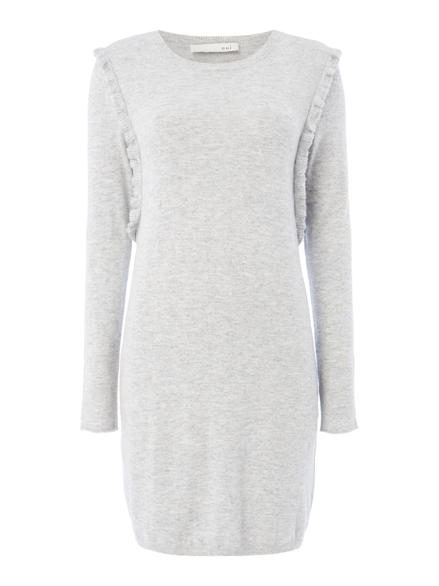 Oui Long line grey knit dress, Light Grey