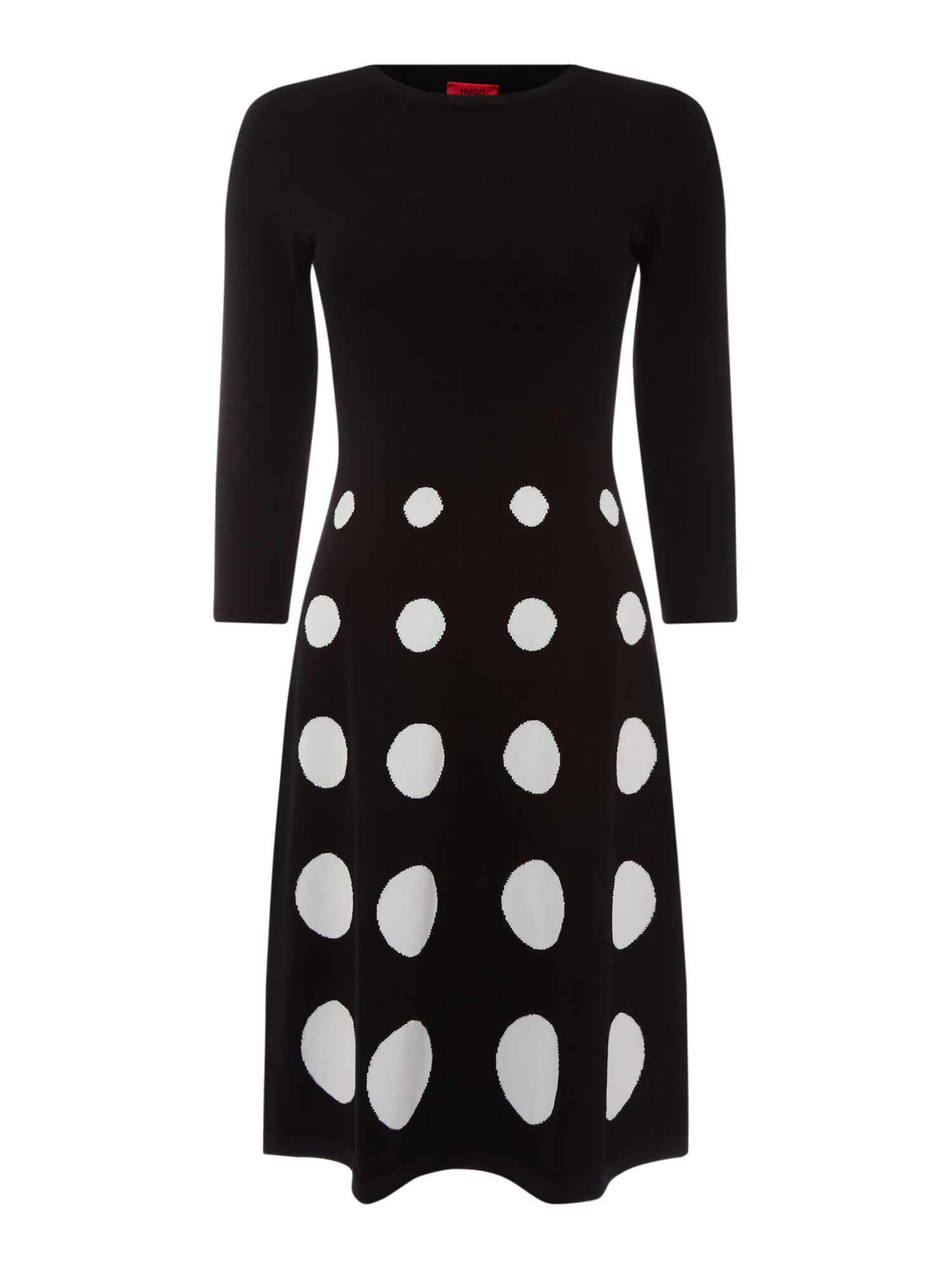 Hugo Sawnie knit dot dress, Black
