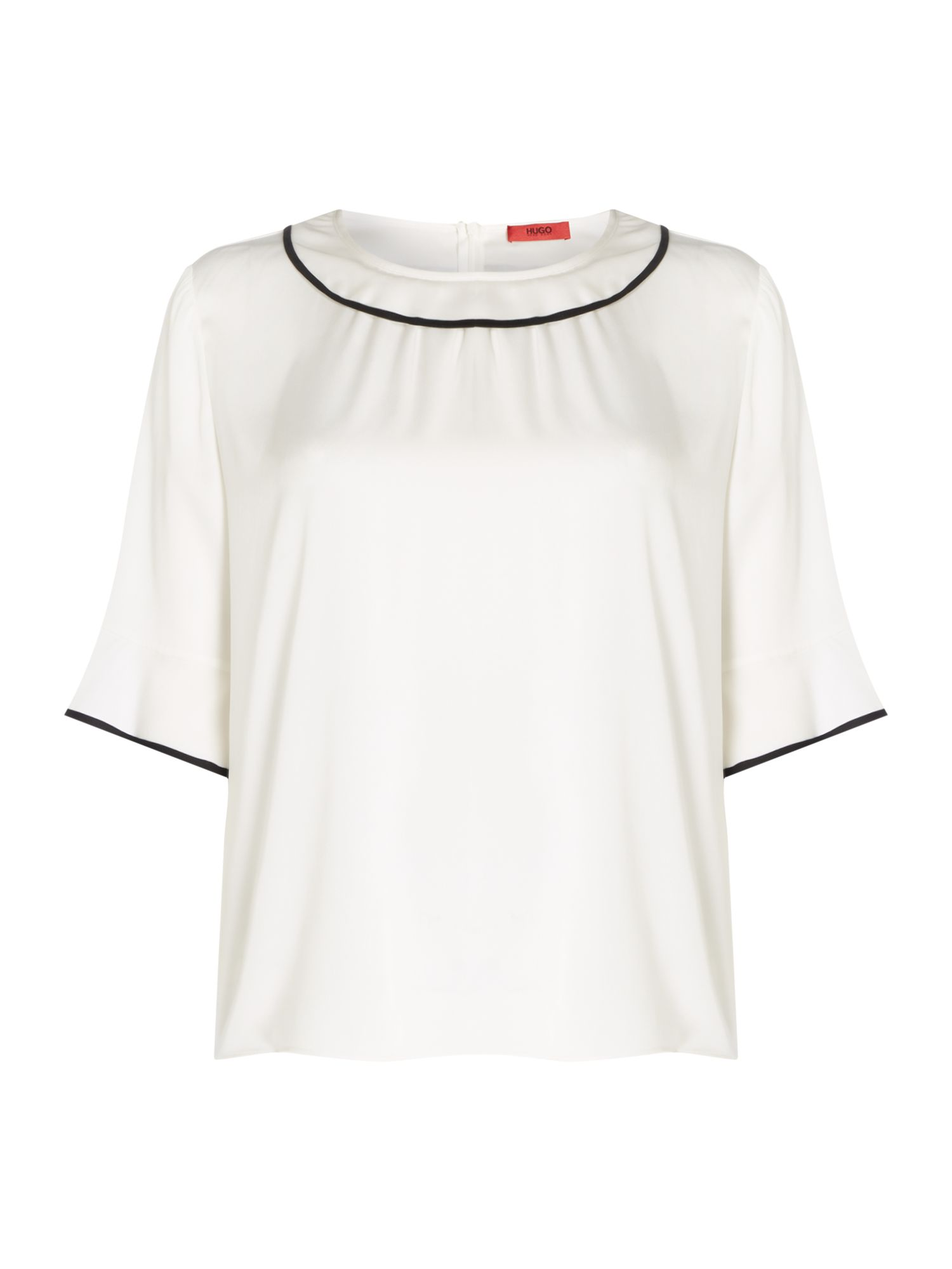 Hugo Cerra short sleeve ruffle blouse, White