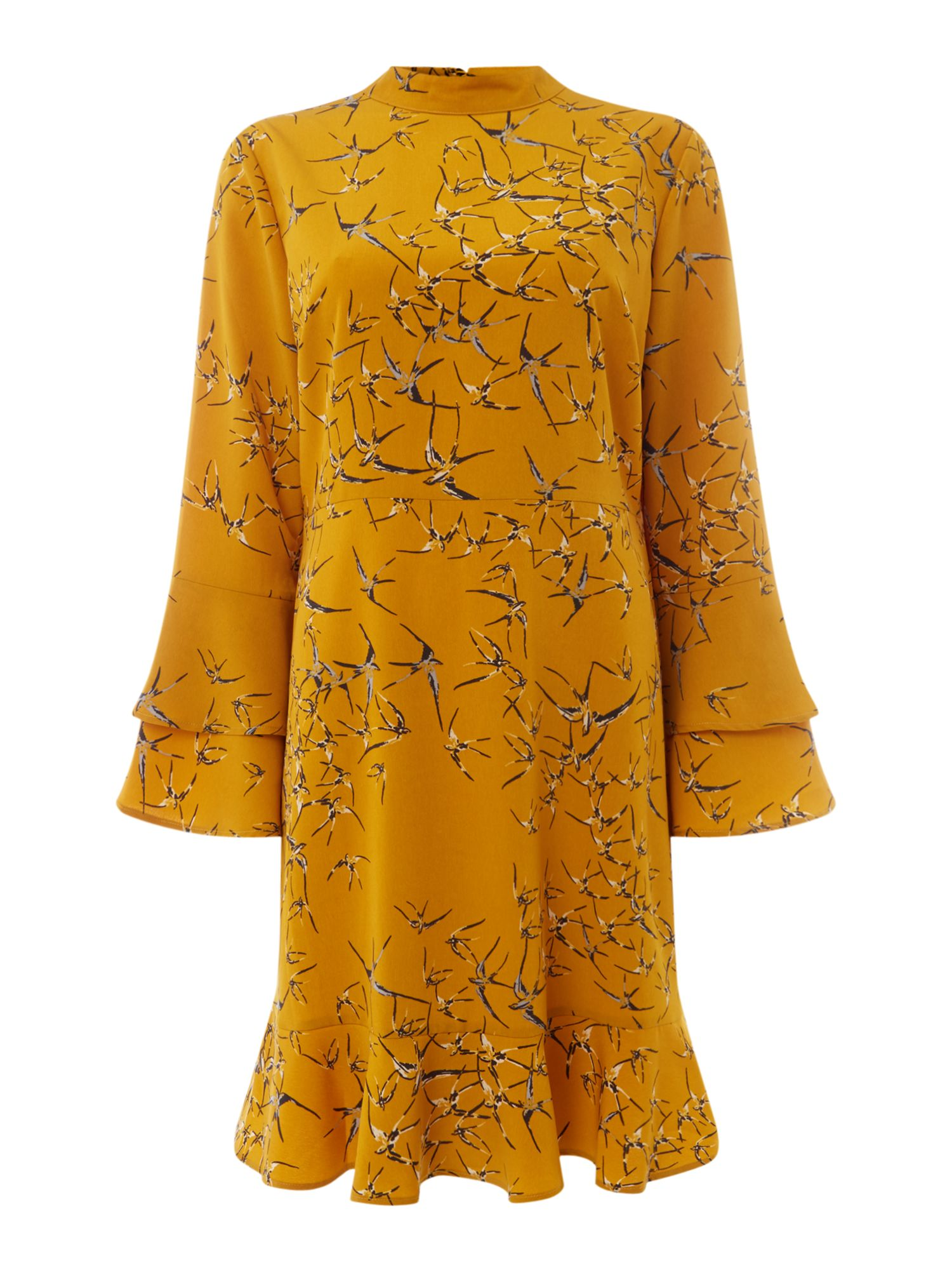 Maison De Nimes Swallow Print Dress, Mustard Yellow