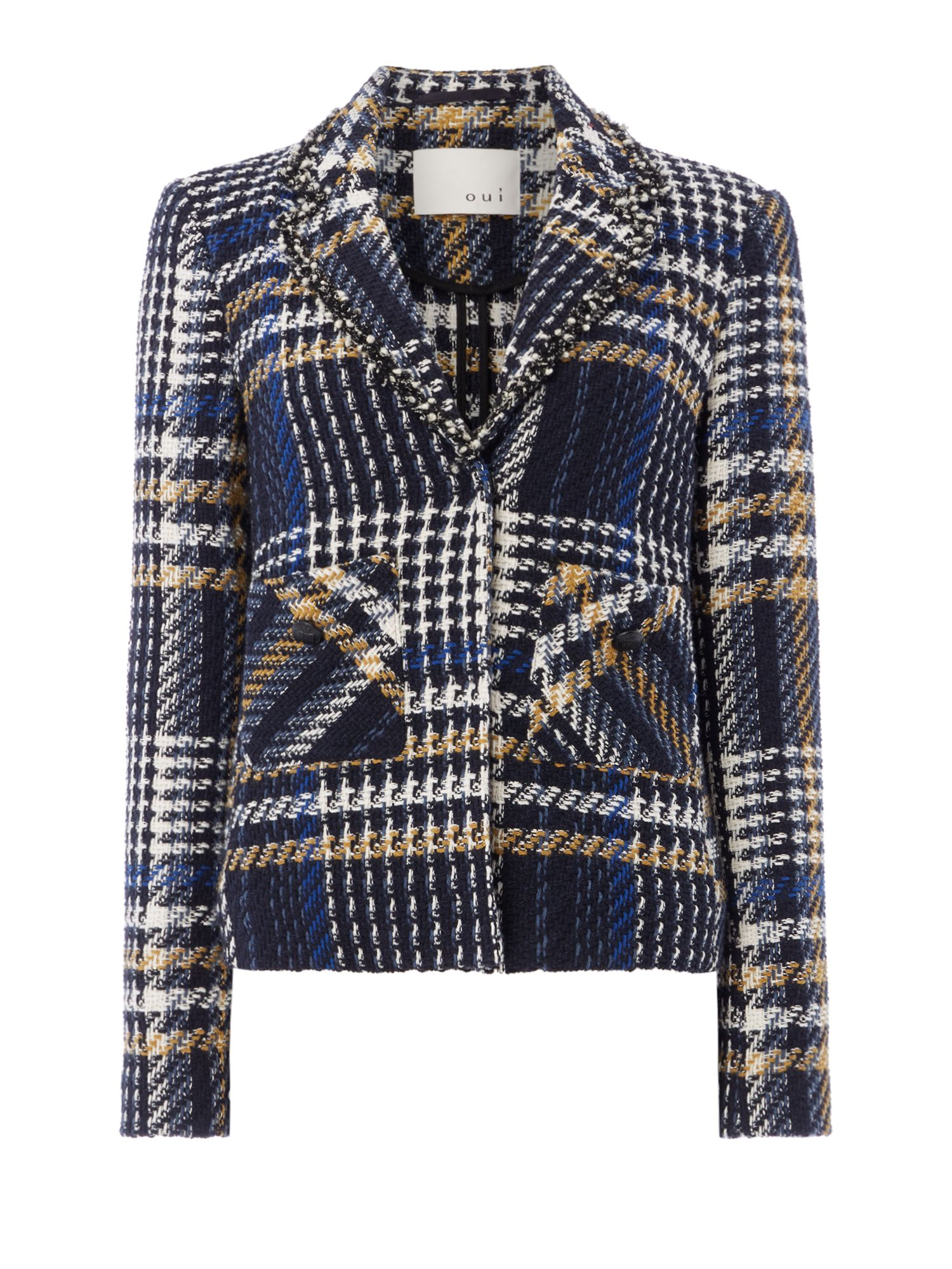 Oui Tweed jacket, Dark Blue