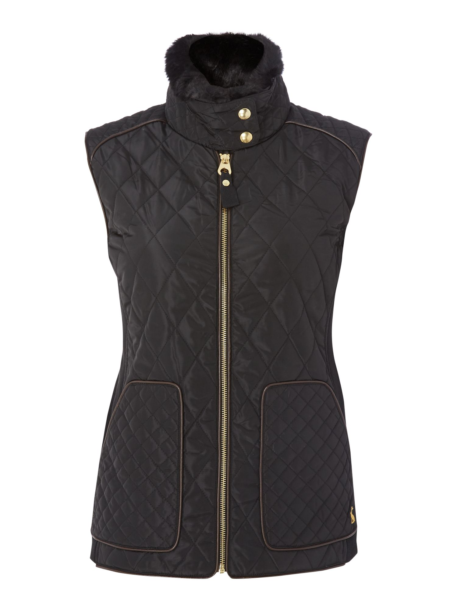 Joules Quilted Gilet With Faux Fur Trim, Black
