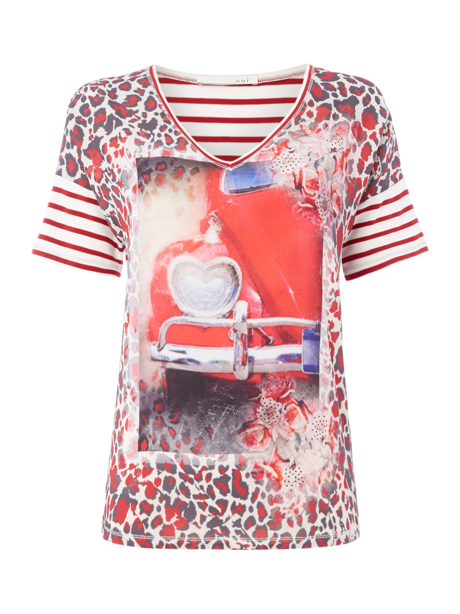 Oui Red bus print tee, Red